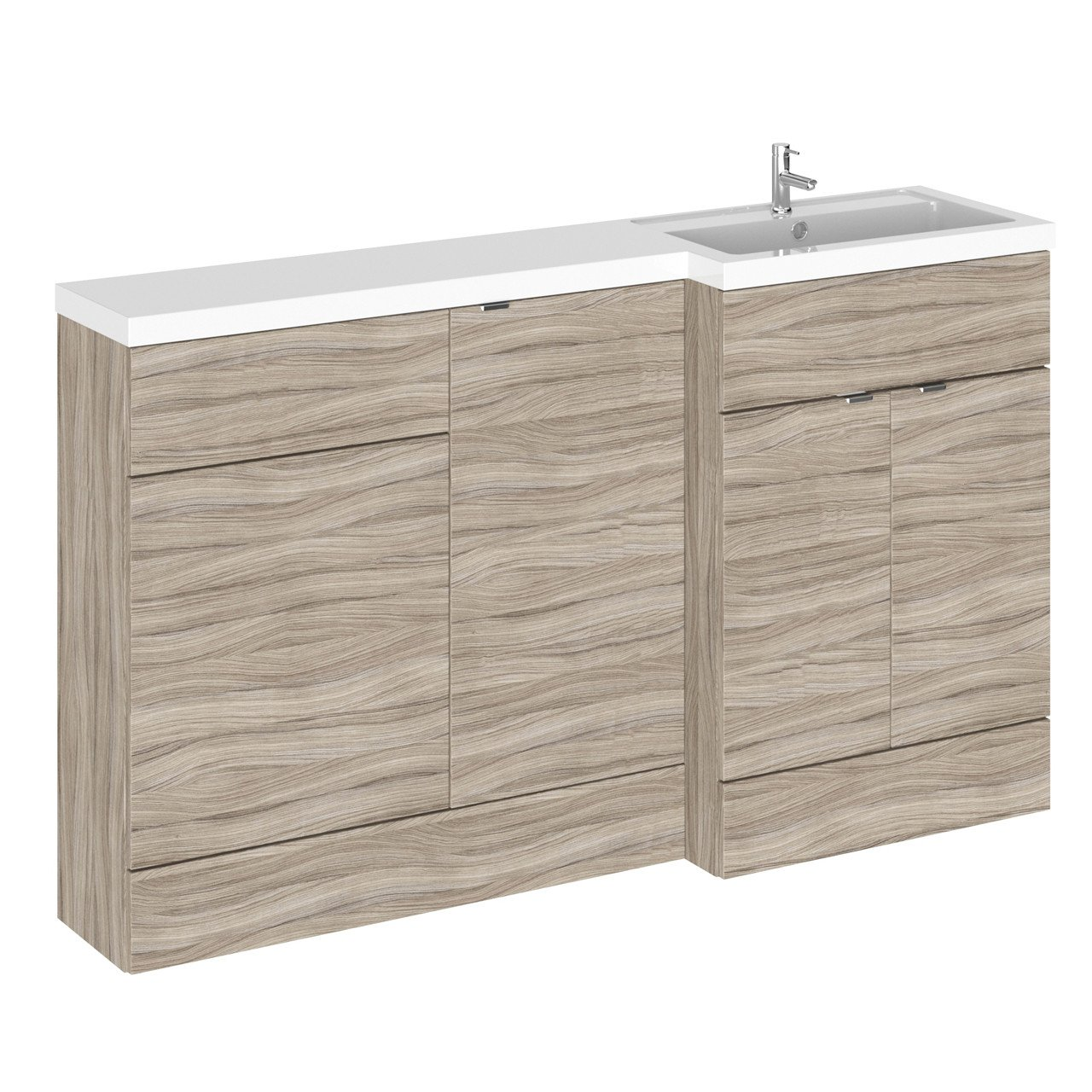 Hudson Reed Driftwood 1500mm Full Depth Combination Vanity, WC and Storage Unit with Right Hand Basin - CBI216