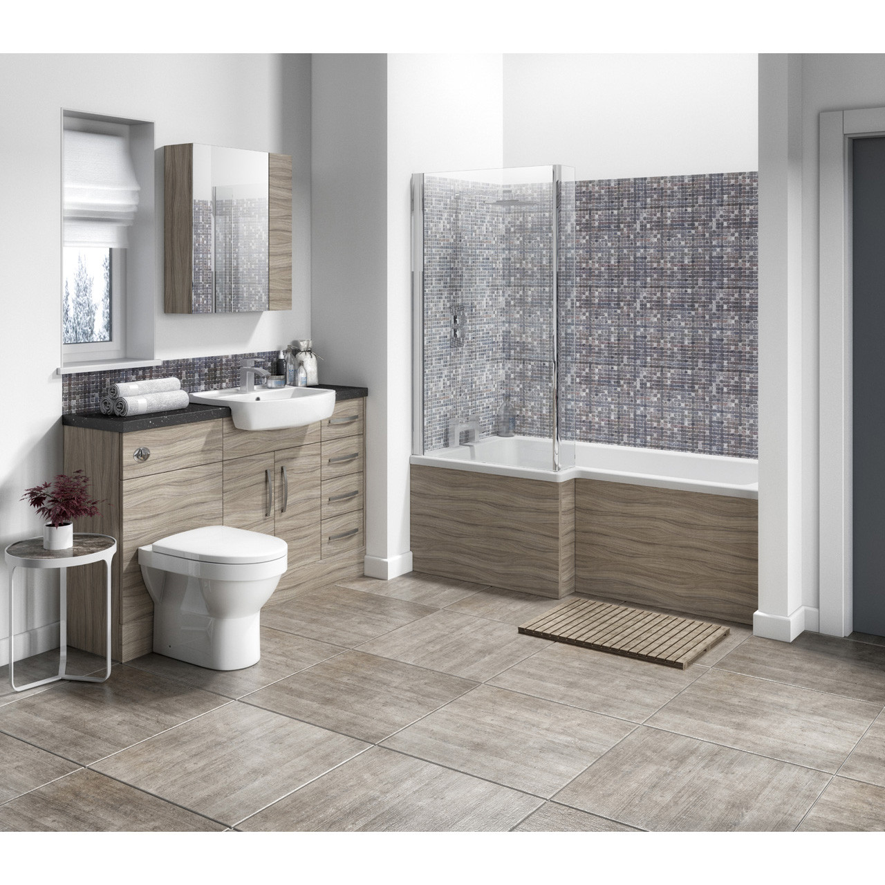 Hudson Reed Driftwood 500mm Compact Vanity Unit - OFF205