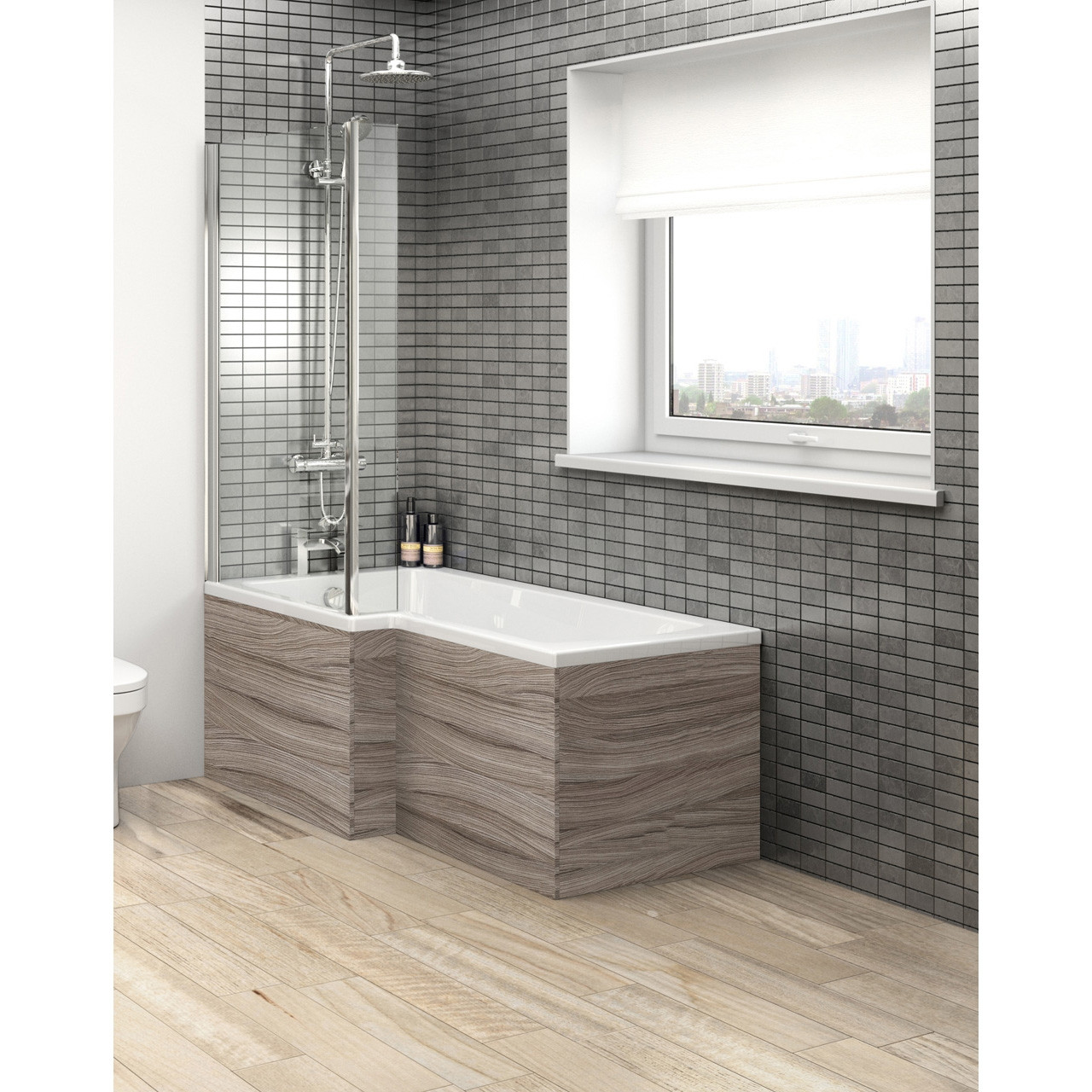 Hudson Reed Driftwood Square Shower Bath Side Panel 1700mm - OFF273