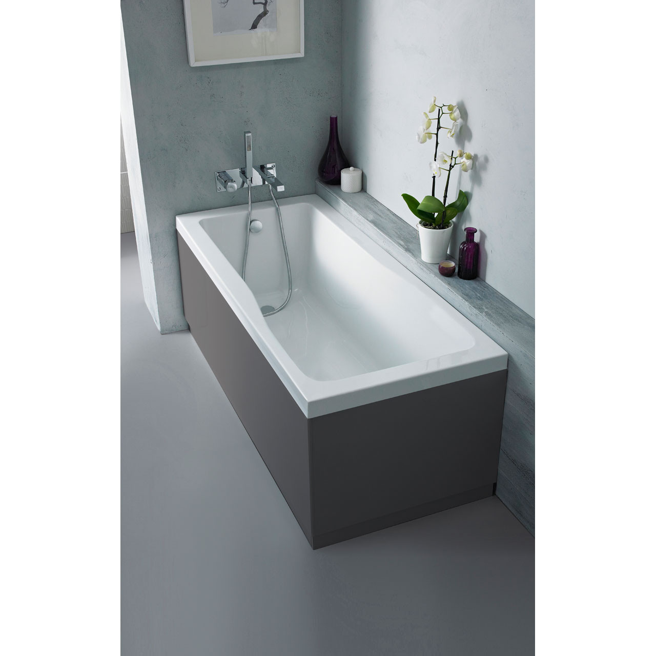 Hudson Reed Gloss Grey 750mm Bath End Panel with Plinth - OFF971