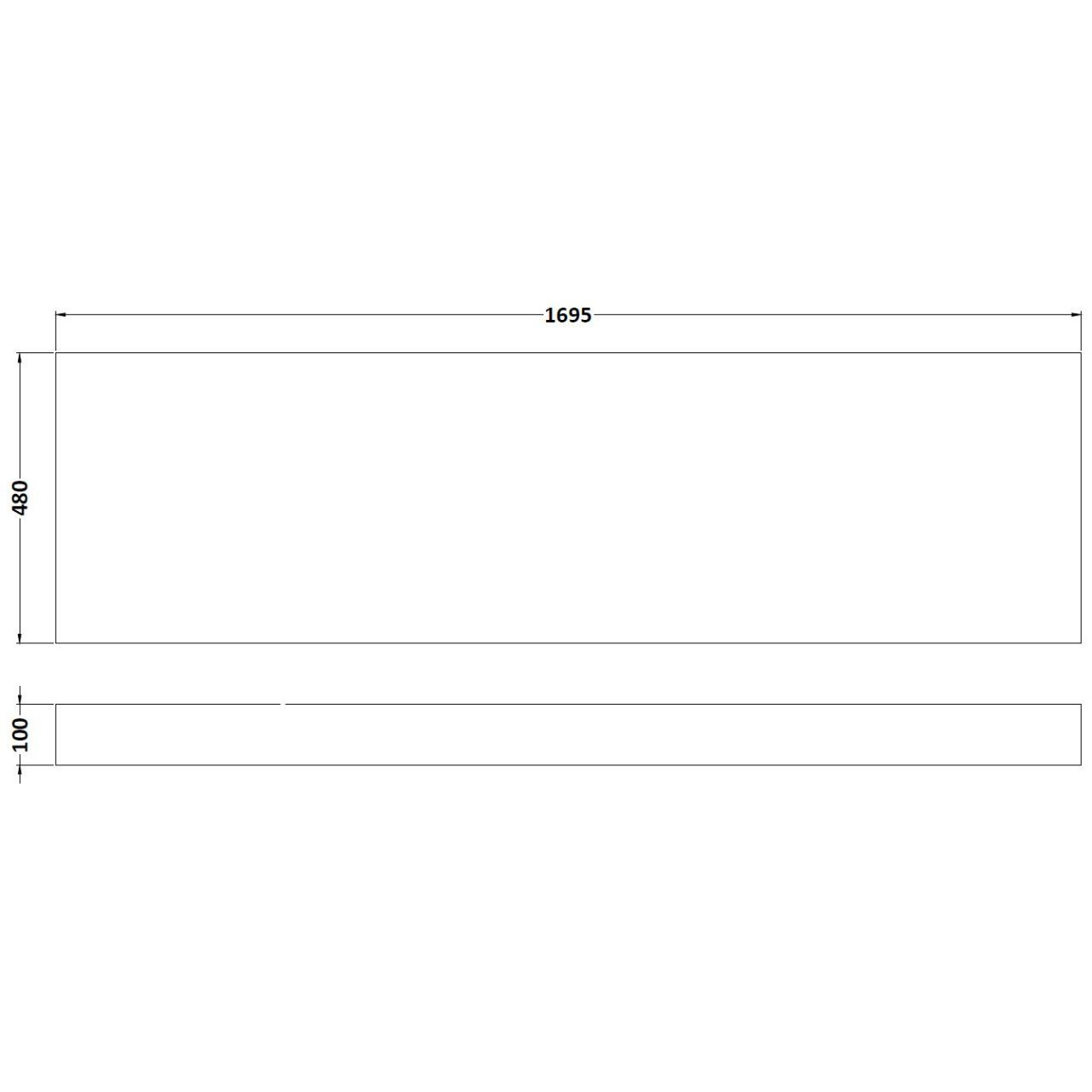 Hudson Reed Gloss Grey Mist 1700mm Front Bath Panel with Plinth - OFG477