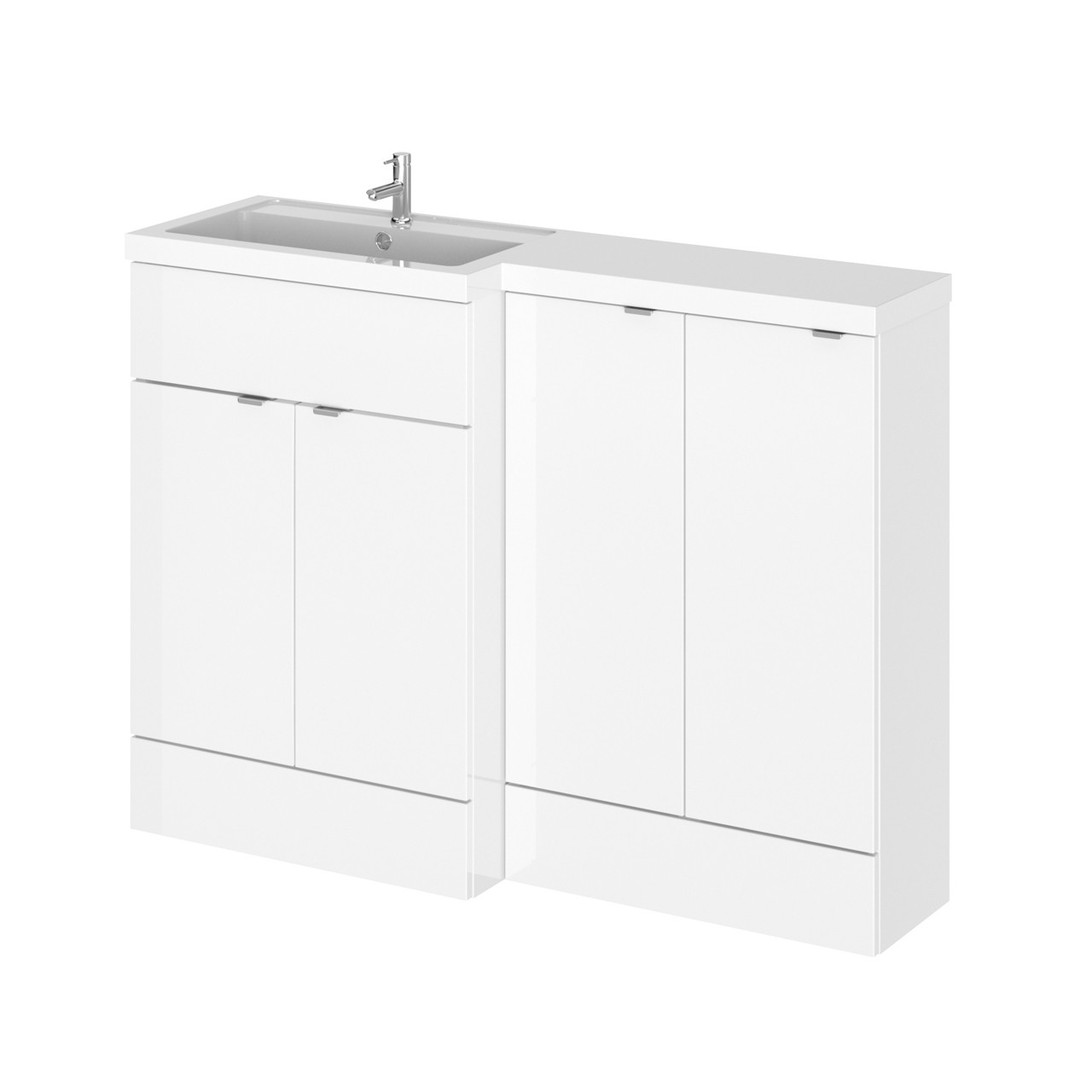 Hudson Reed Gloss White 1200mm Full Depth Combination Vanity & Storage Unit with Left Hand Basin - CBI111