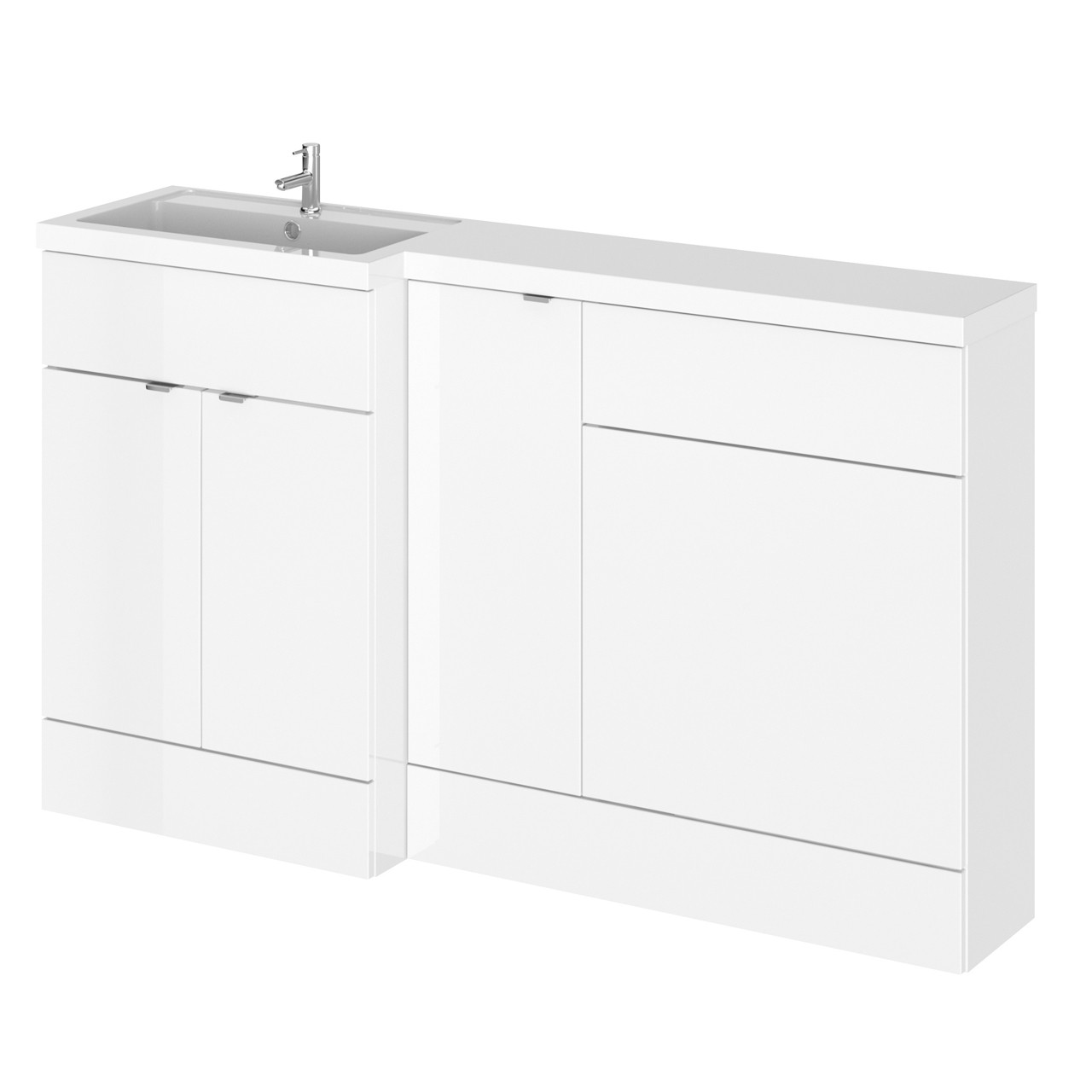 Hudson Reed Gloss White 1500mm Full Depth Combination Vanity, WC and Storage Unit with Left Hand Basin - CBI113