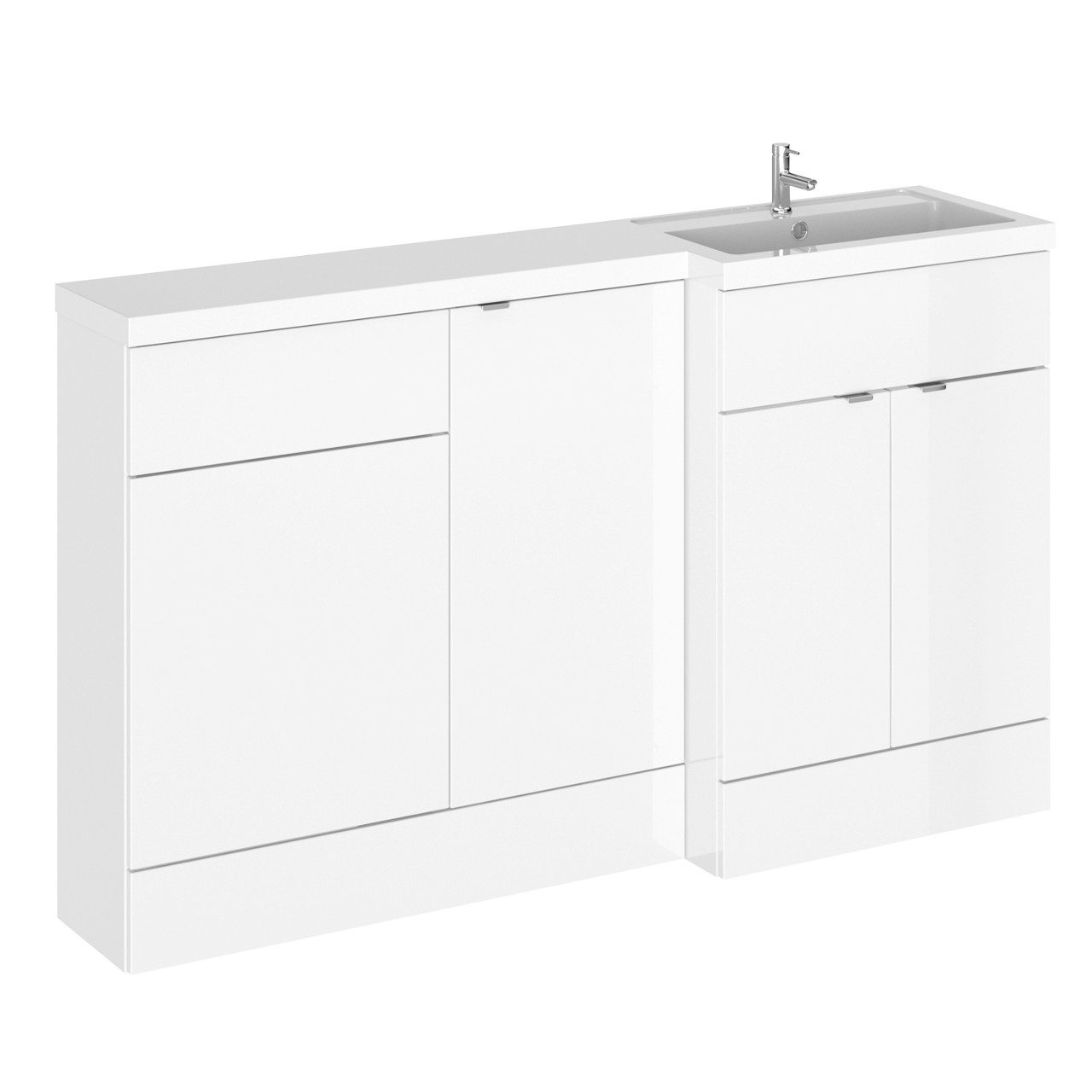 Hudson Reed Gloss White 1500mm Full Depth Combination Vanity, WC and Storage Unit with Right Hand Basin - CBI116