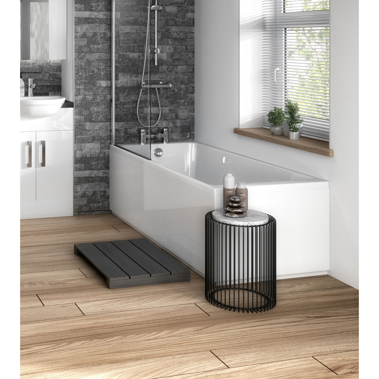 Hudson Reed Gloss White 1700mm Bath Front Panel with Plinth - OFF177