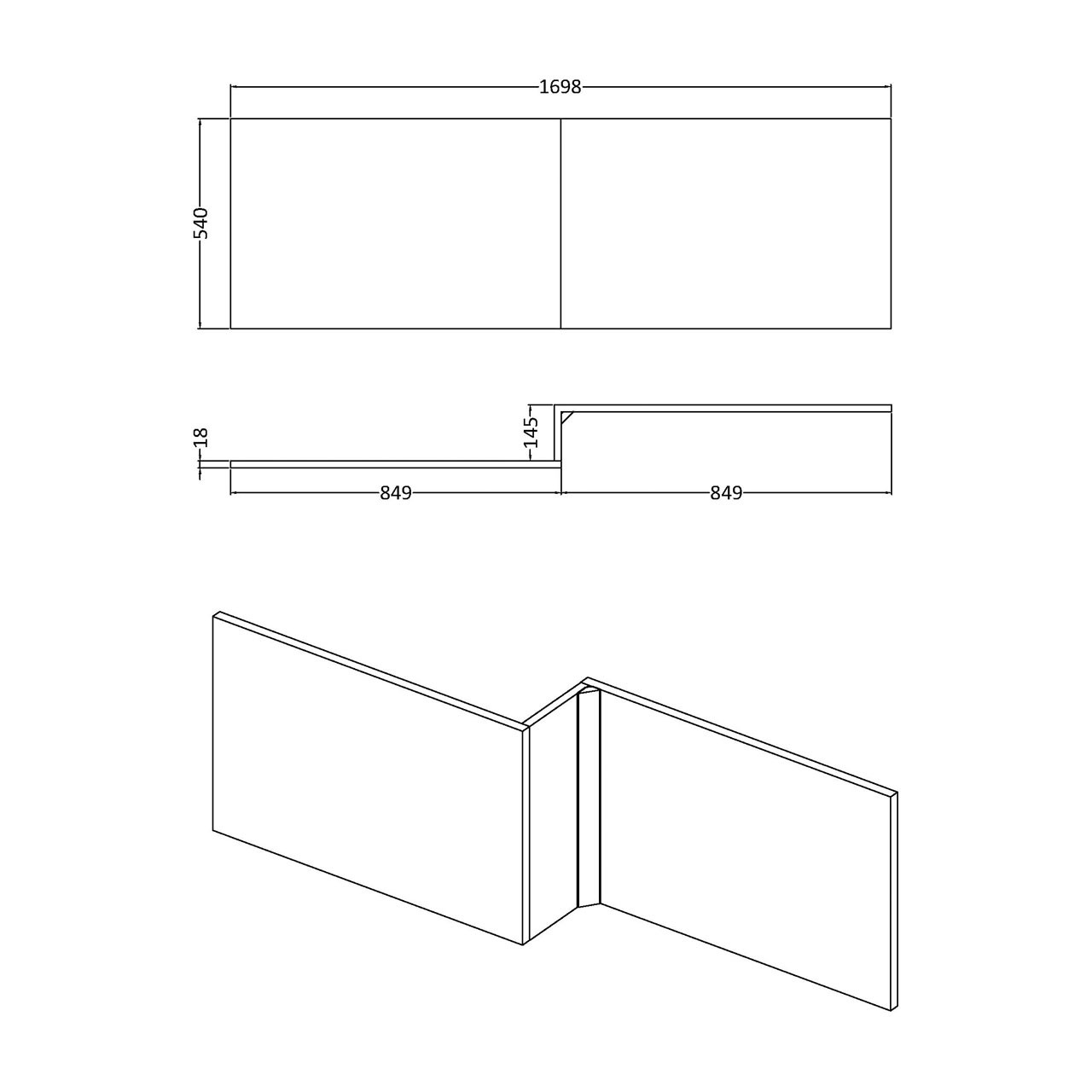 Hudson Reed Gloss White 1700mm Square Shower Bath Front Panel - OFF173
