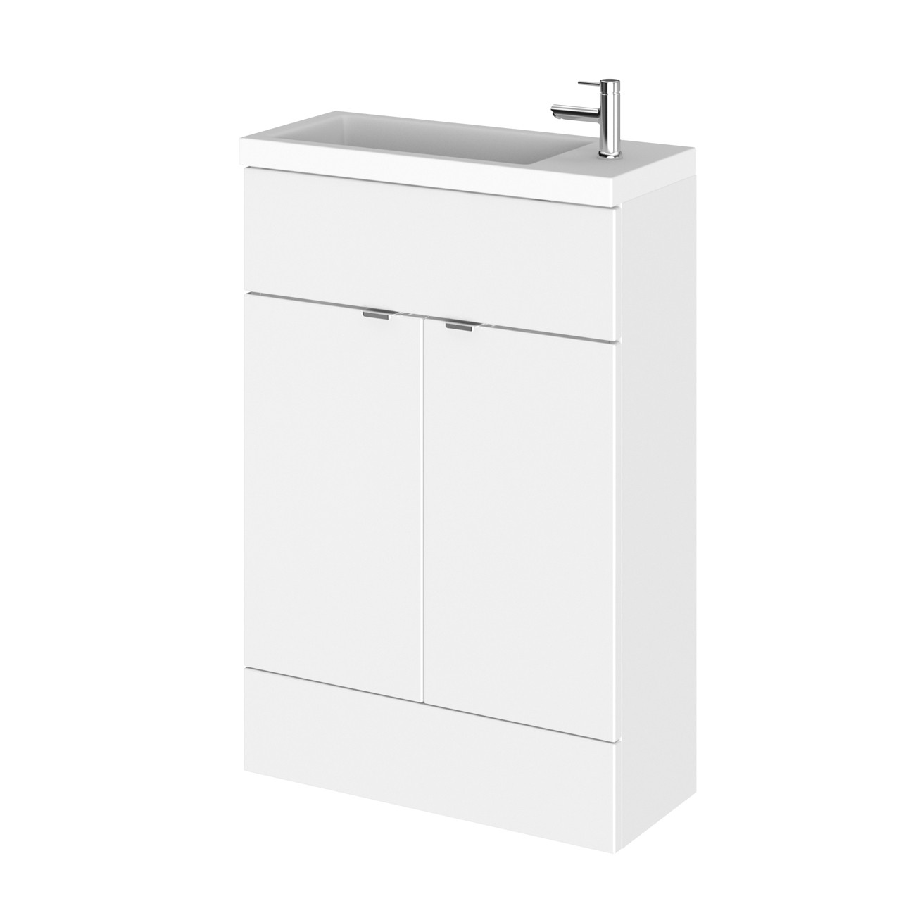 Hudson Reed Gloss White 600mm Compact Vanity Unit with Basin - CBI106