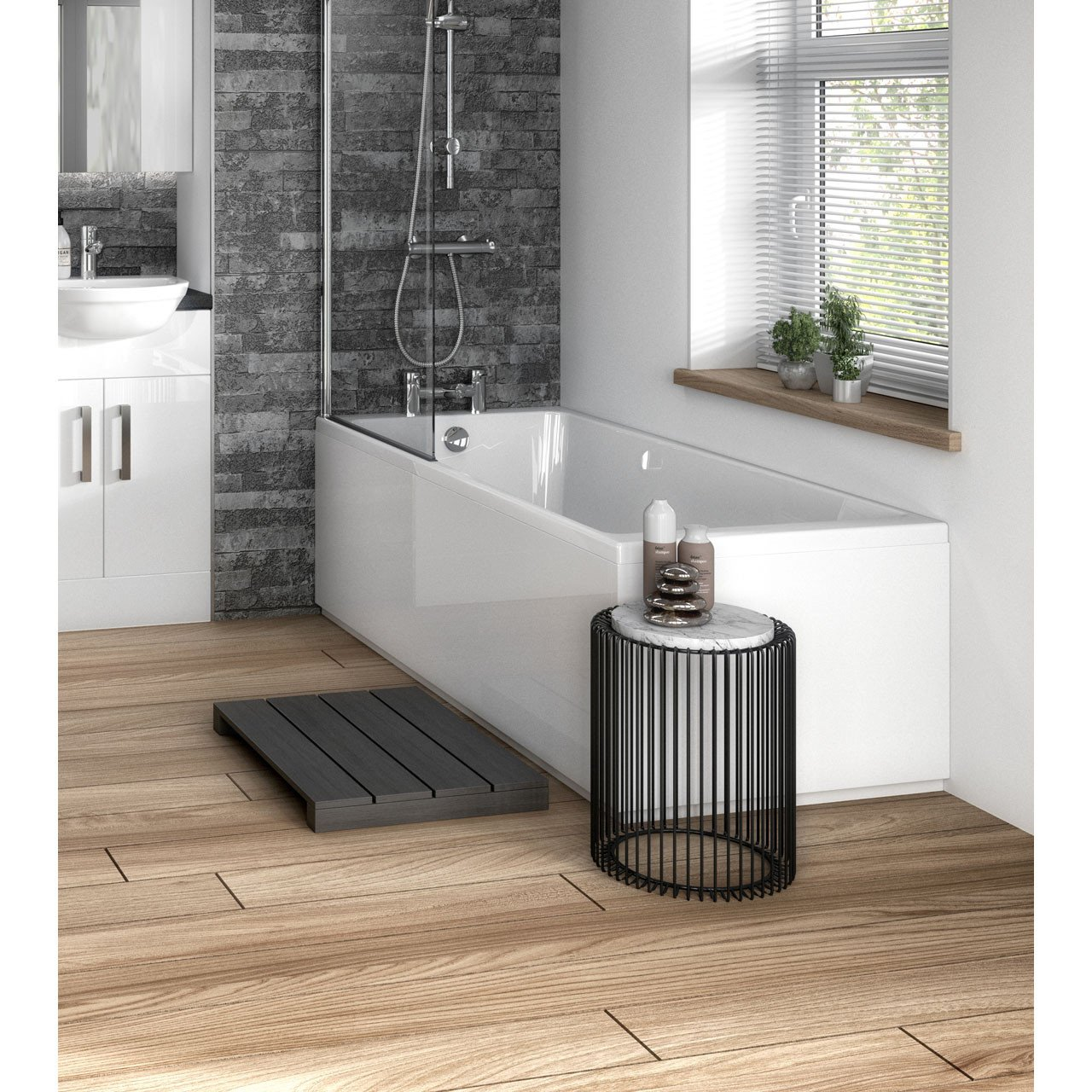 Hudson Reed Gloss White 700mm Bath End Panel with Plinth - OFF170