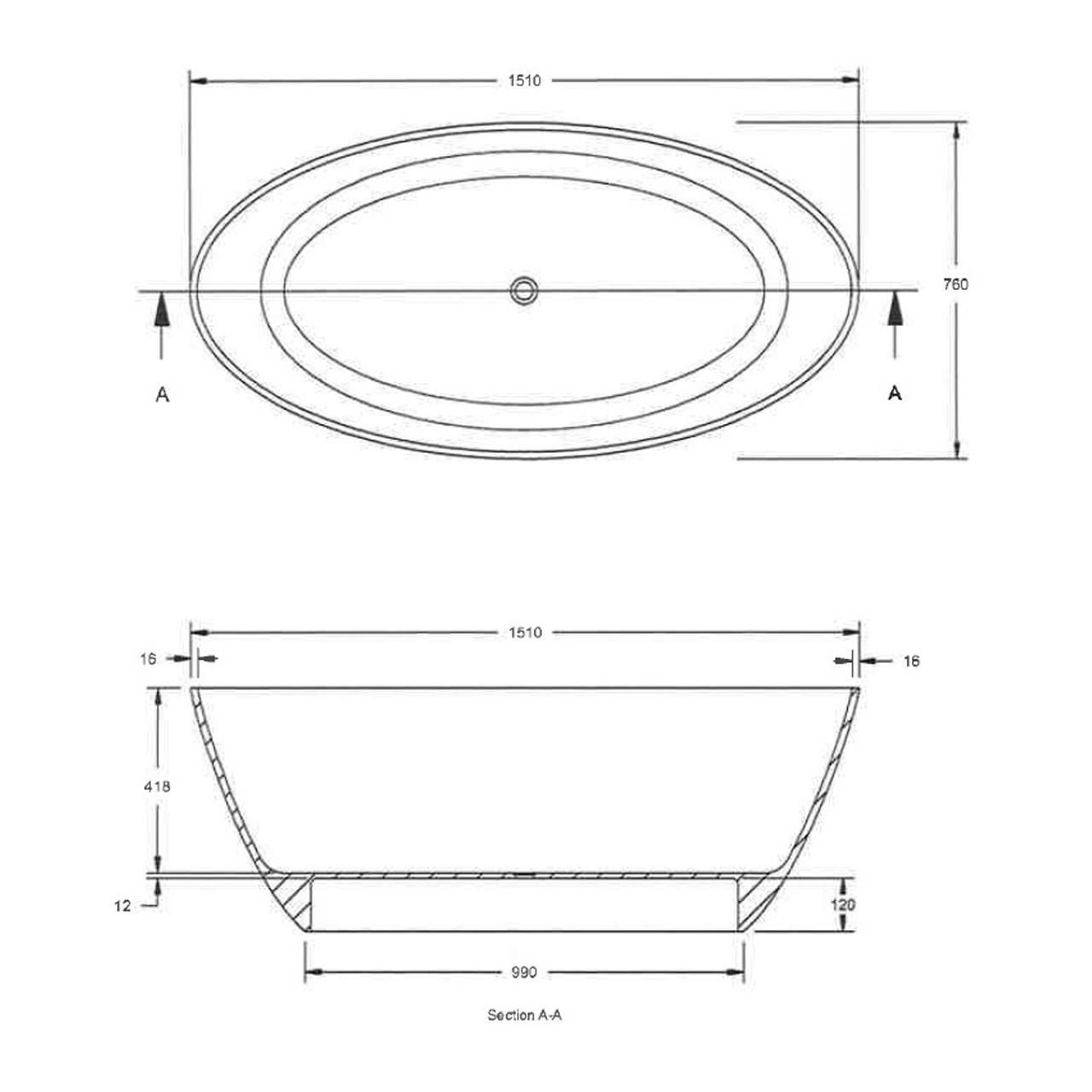 Hudson Reed Grace Round 1510mm x 760mm Freestanding Bath - NBB001