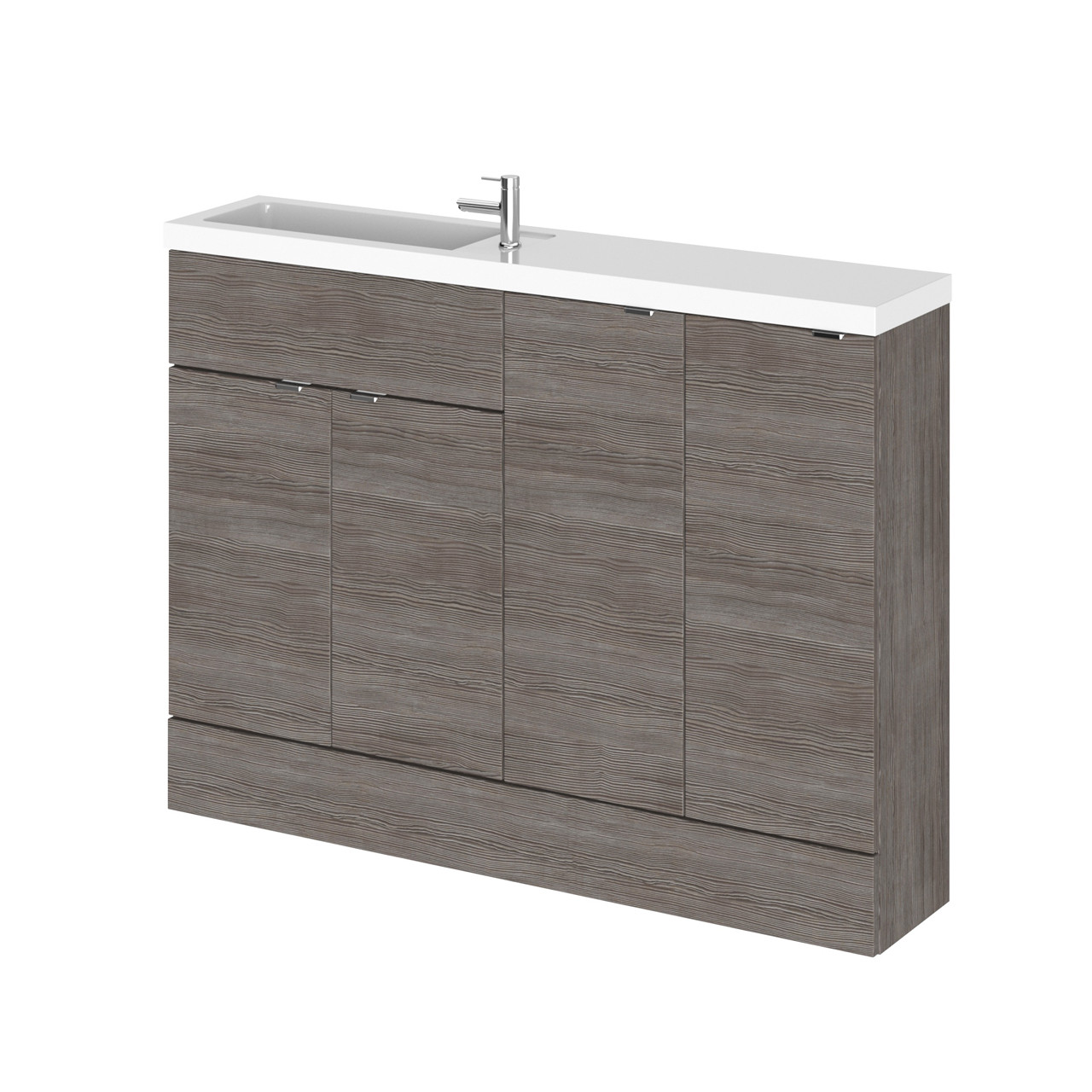 Hudson Reed Grey Avola 1200mm Compact Combination Vanity, WC and Storage Unit with Left Hand Basin - CBI525