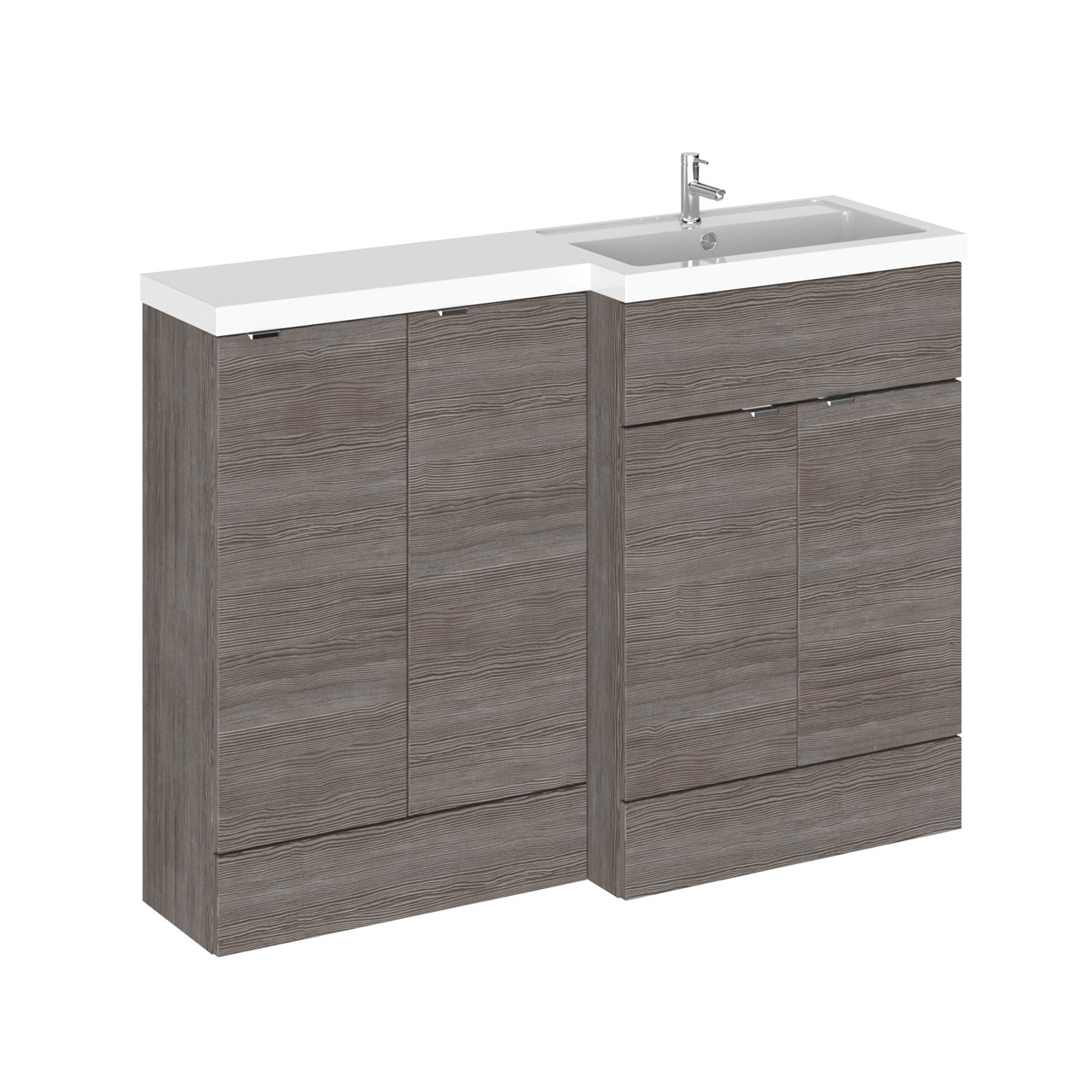 Hudson Reed Grey Avola 1200mm Full Depth Combination Vanity & Storage Unit with Right Hand Basin - CBI512