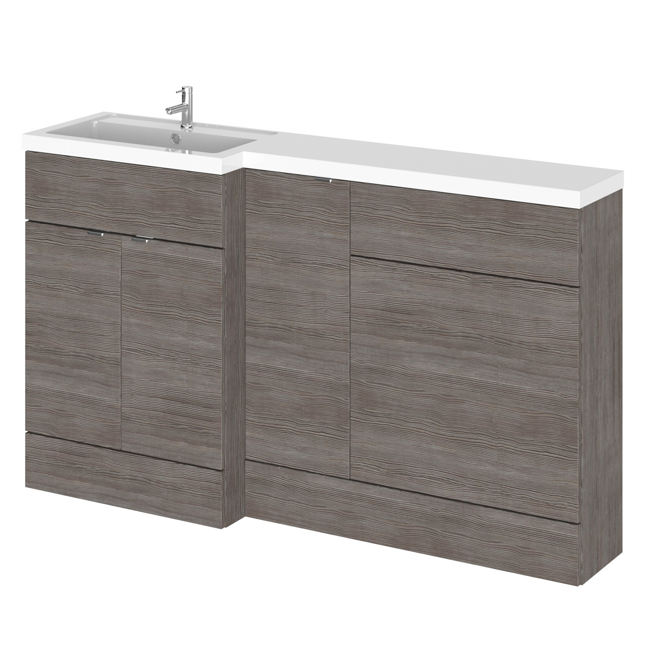 Hudson Reed Grey Avola 1500mm Full Depth Combination Vanity, WC and Storage Unit with Left Hand Basin - CBI513