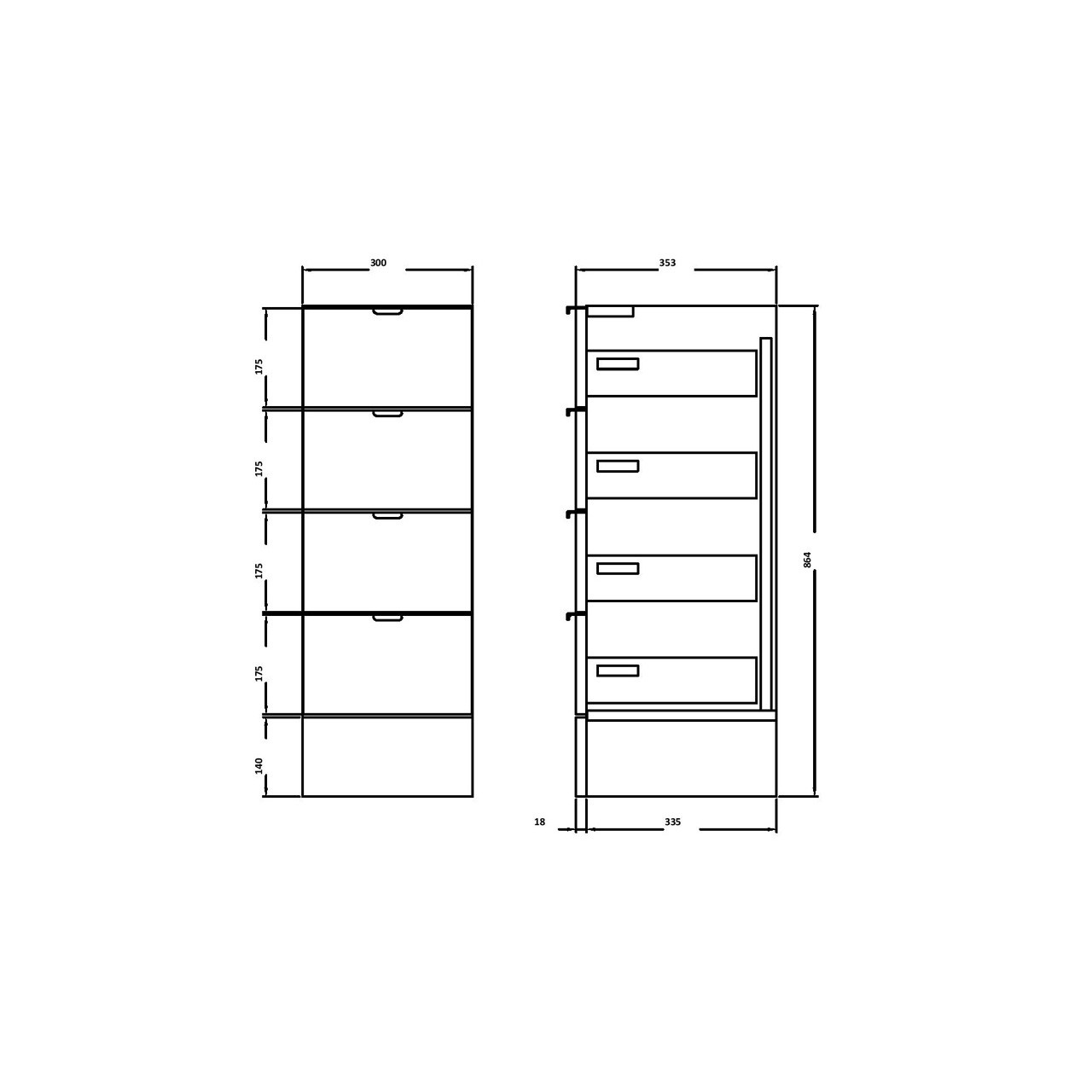 Hudson Reed Grey Avola 300mm Drawer Unit - OFF532