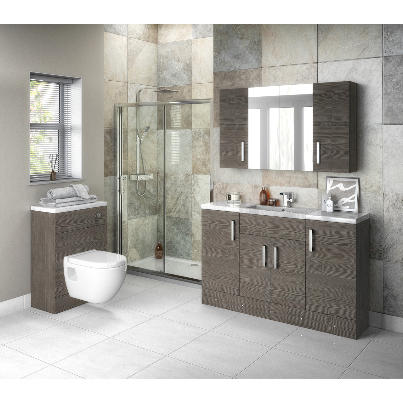 Hudson Reed Grey Avola 400mm Compact Vanity Unit - OFF503