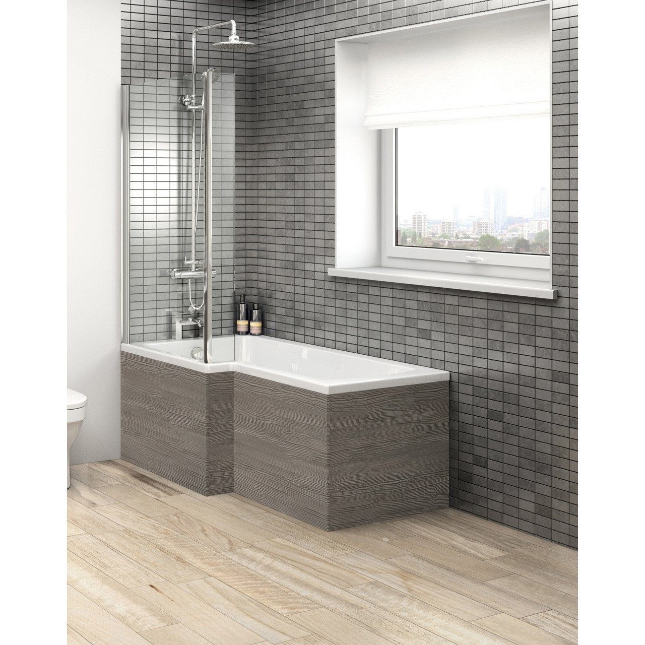 Hudson Reed Brown Grey Avola 1700mm Square Shower Front Bath Panel - OFF573