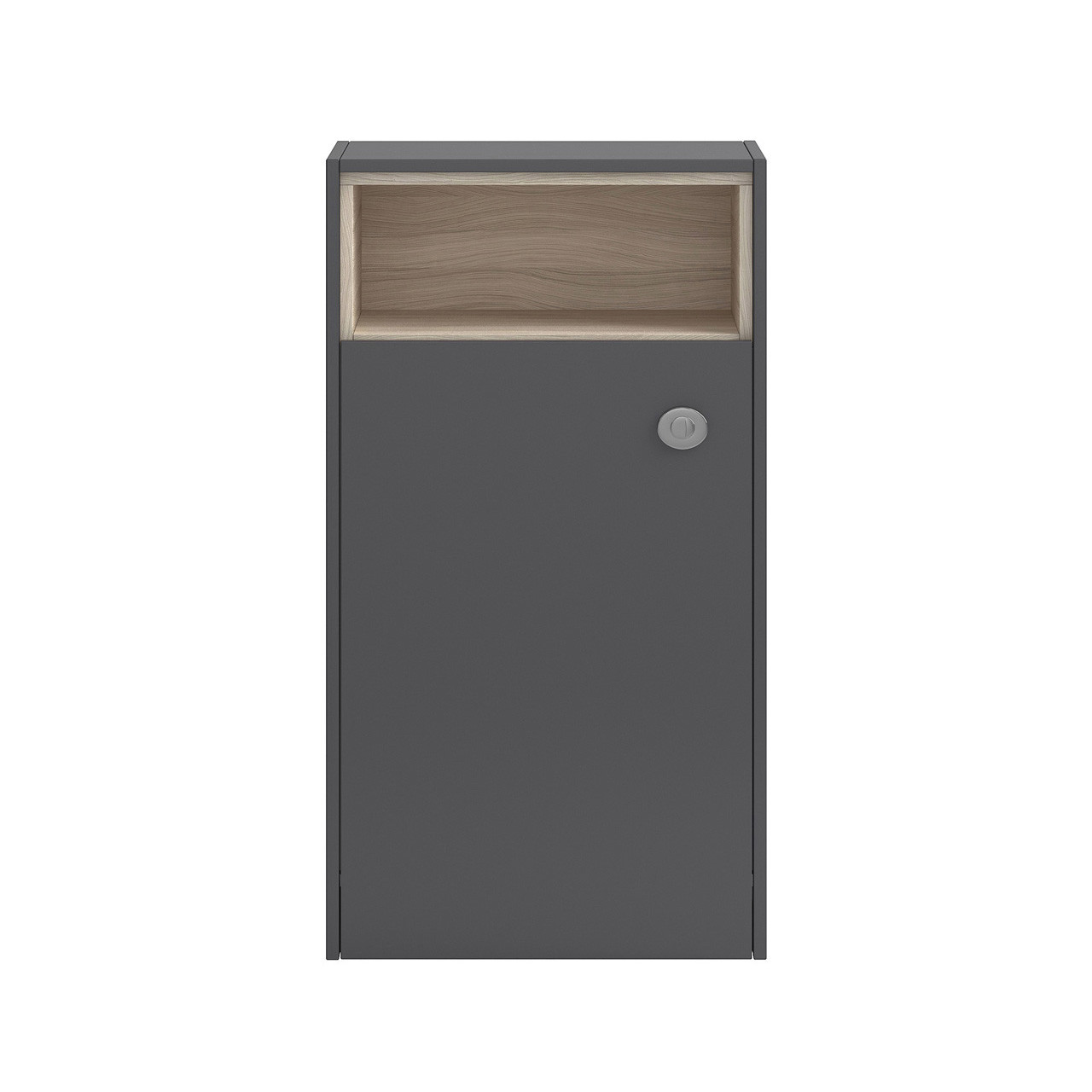 Hudson Reed Grey Gloss/Driftwood Coast 600mm WC Unit Open Shelf - FMC856