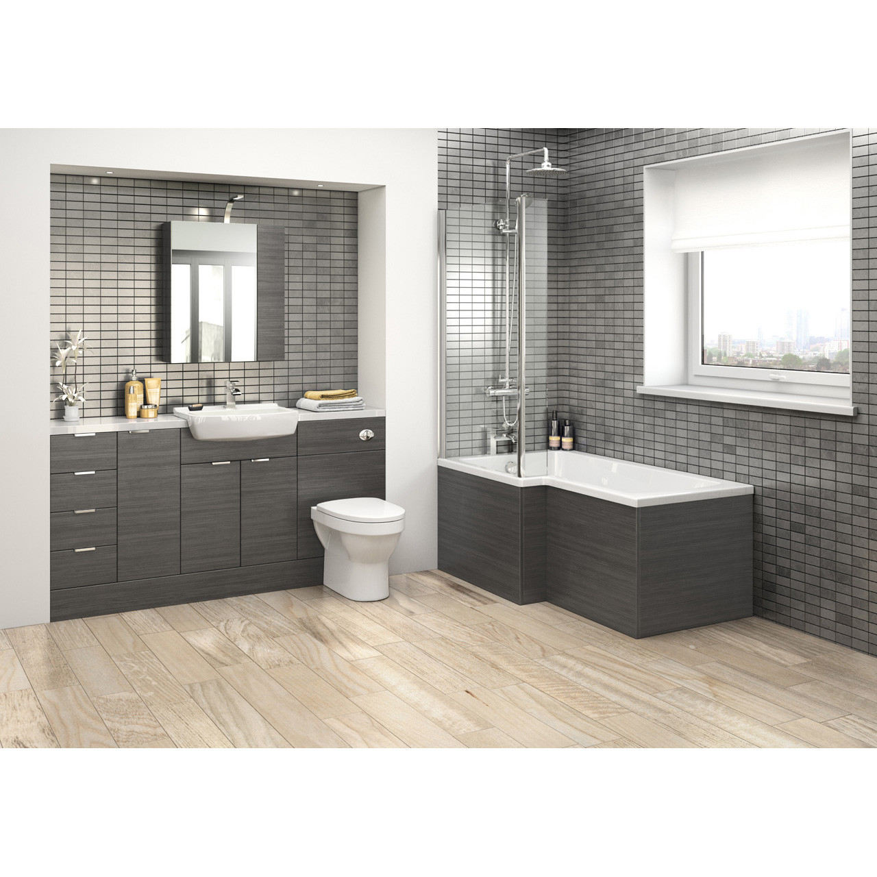 Hudson Reed Hacienda Black 500mm Compact Vanity Unit - OFF605