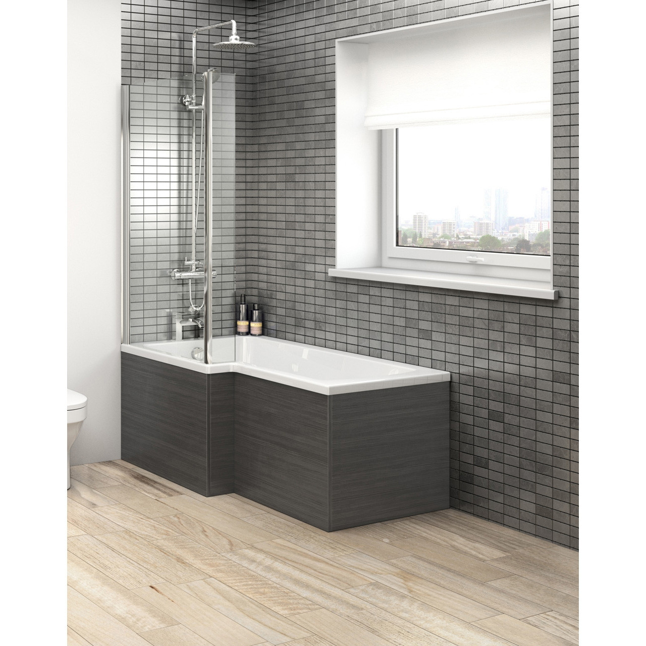 Hudson Reed Hacienda Black Square Shower Bath Side Panel 1700mm - OFF673