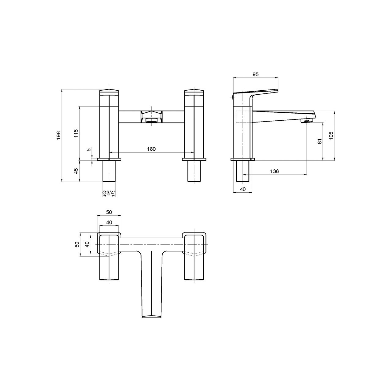 Nuie Hardy Bath Filler Tap - HDY303