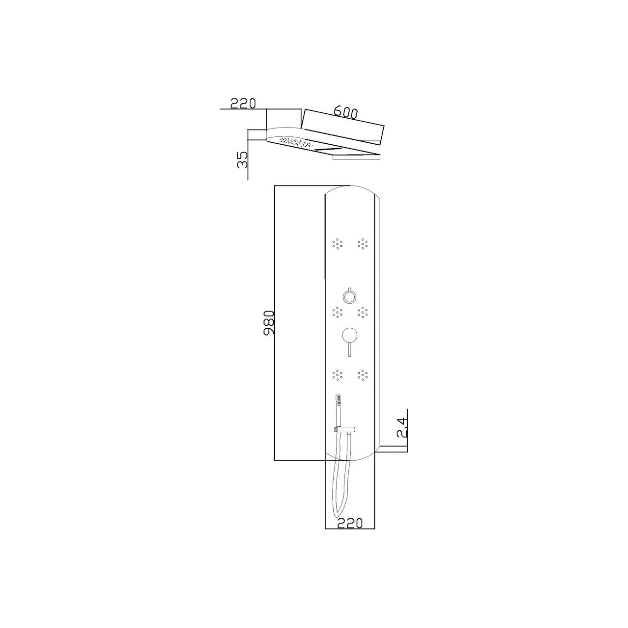 Hudson Reed Interval Thermostatic Panel - PIN003
