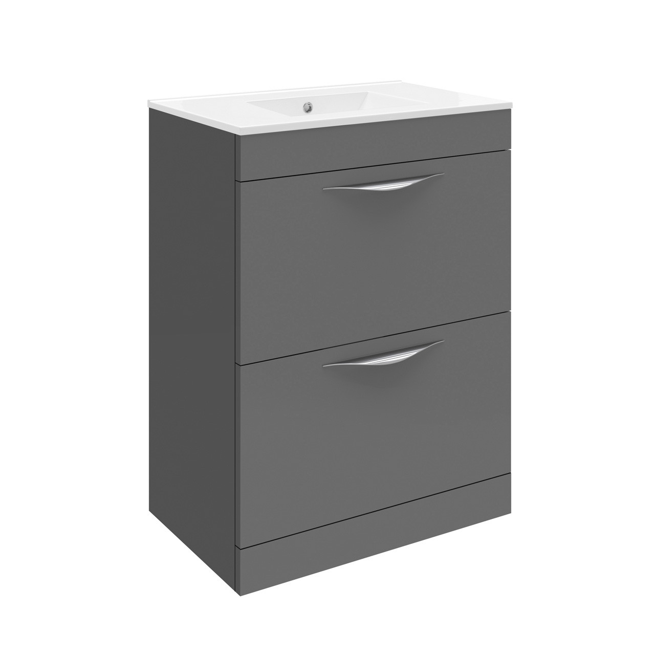 Hudson Reed Memoir Gloss Grey Floor Standing 600mm Cabinet & 40mm profile Basin - FME406 & NVM013