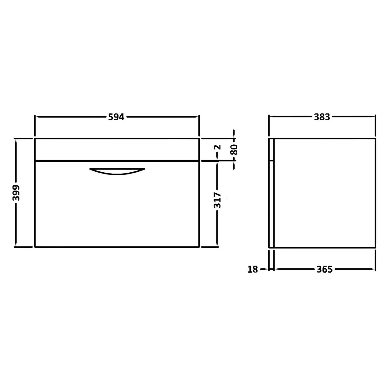 Hudson Reed Memoir Gloss Grey Wall Hung 600mm Cabinet & 40mm profile Basin - FME416 & NVM013