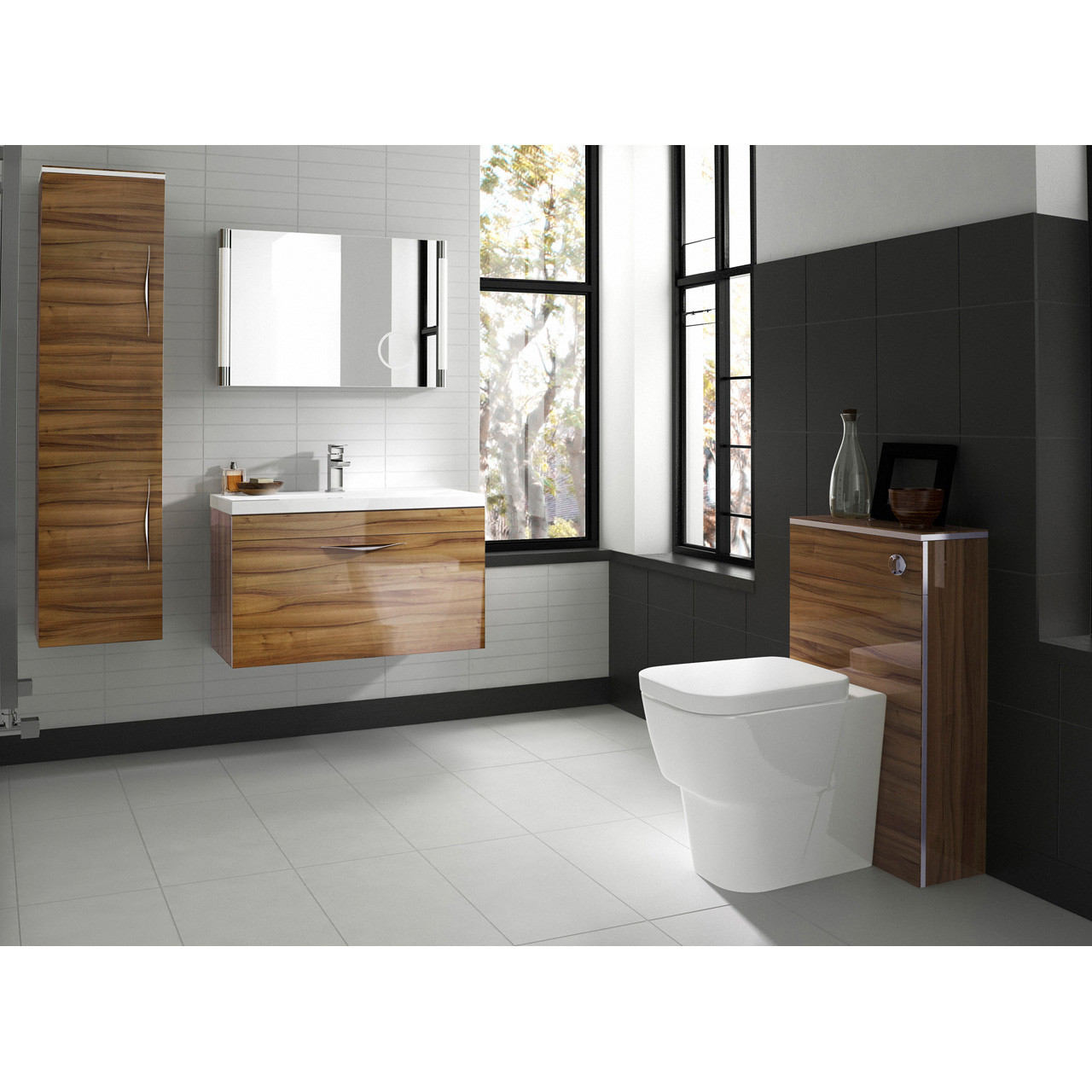 Hudson reed bathroom cabinets - Hudson Reed Memoir Gloss Walnut Wall Hung 600mm Cabinet 40mm Profile Basin Cab180 Nvm013