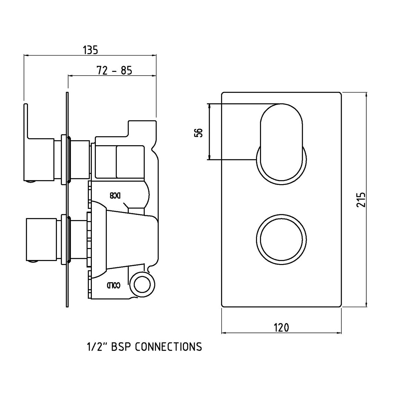 Hudson Reed Reign Twin Concealed Thermostatic Valve with Diverter - REI3607