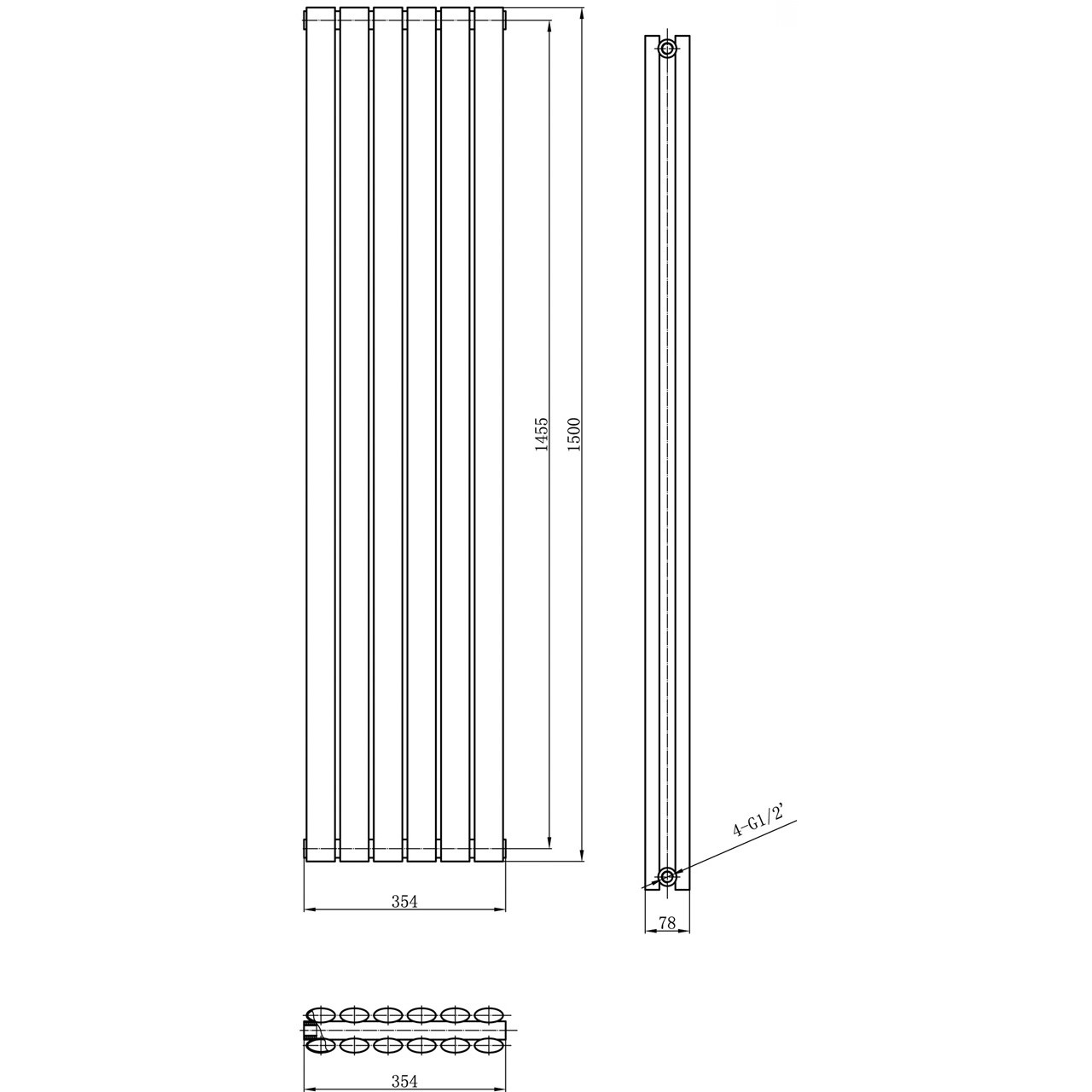 Hudson Reed Revive Double Panel Radiator 1500mm x 354mm - HLB76