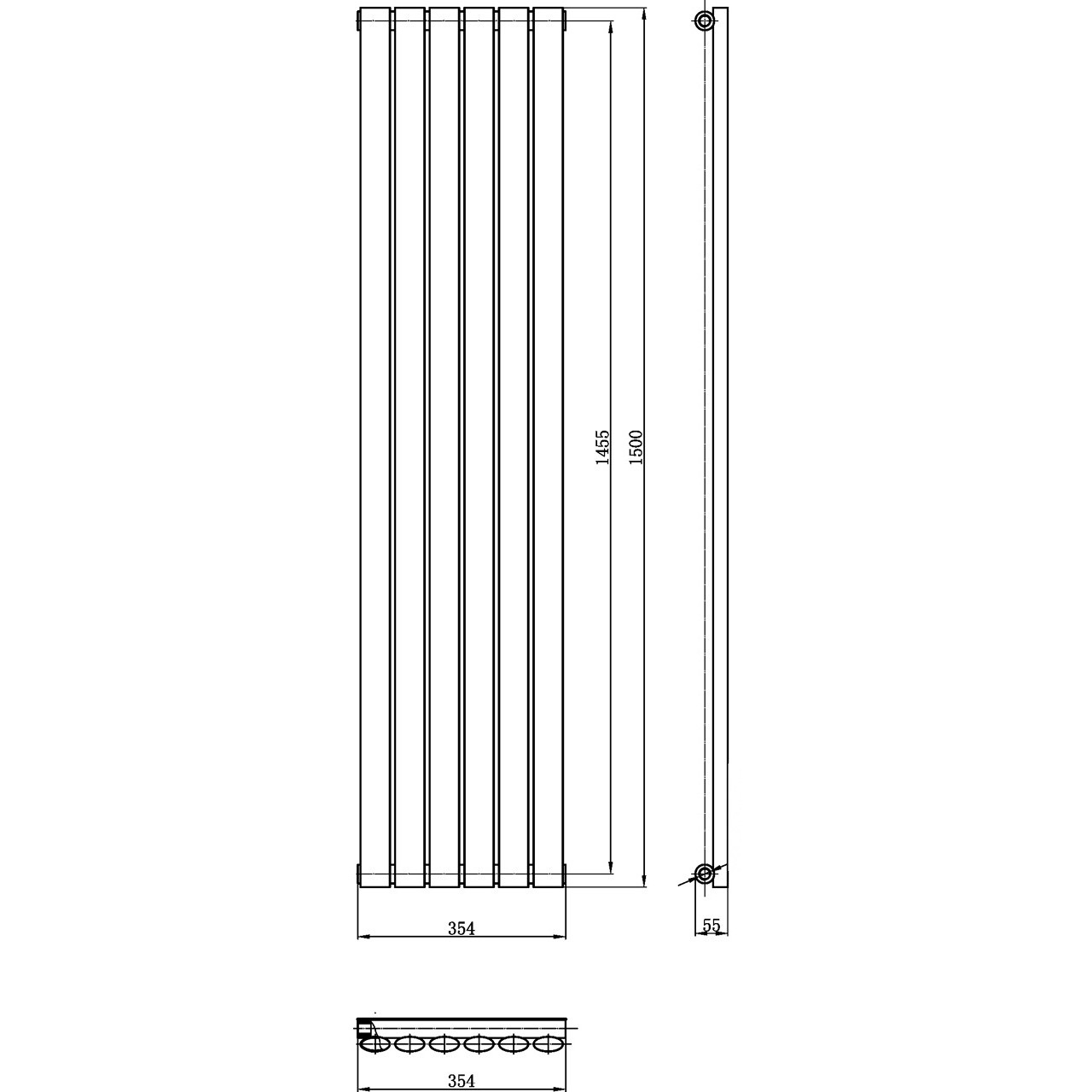 Hudson Reed Revive Single Panel Radiator 1500mm x 354mm - HL367