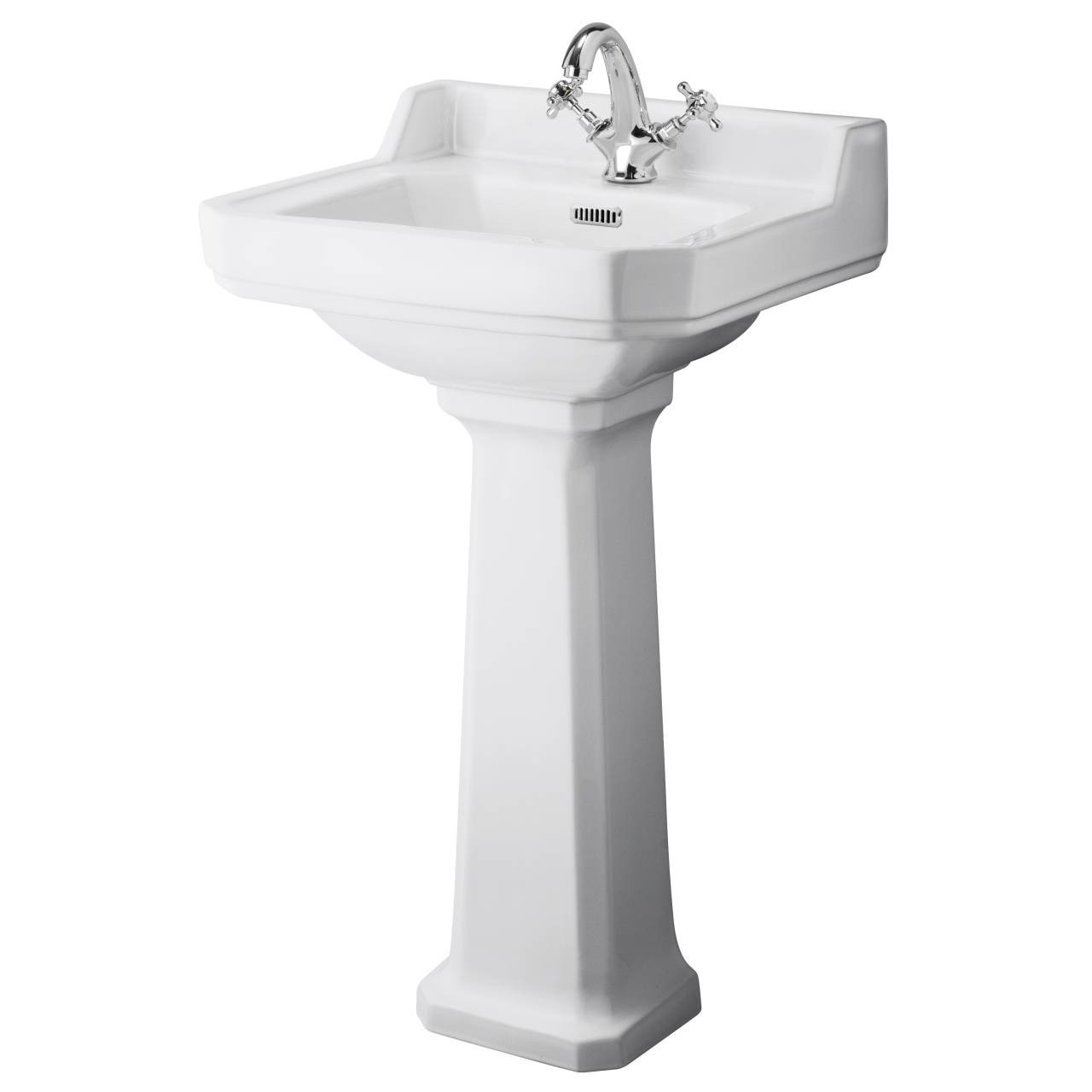 Hudson Reed Richmond 500mm Basin with 1 Tap Hole and Comfort Height Pedestal - CCR032