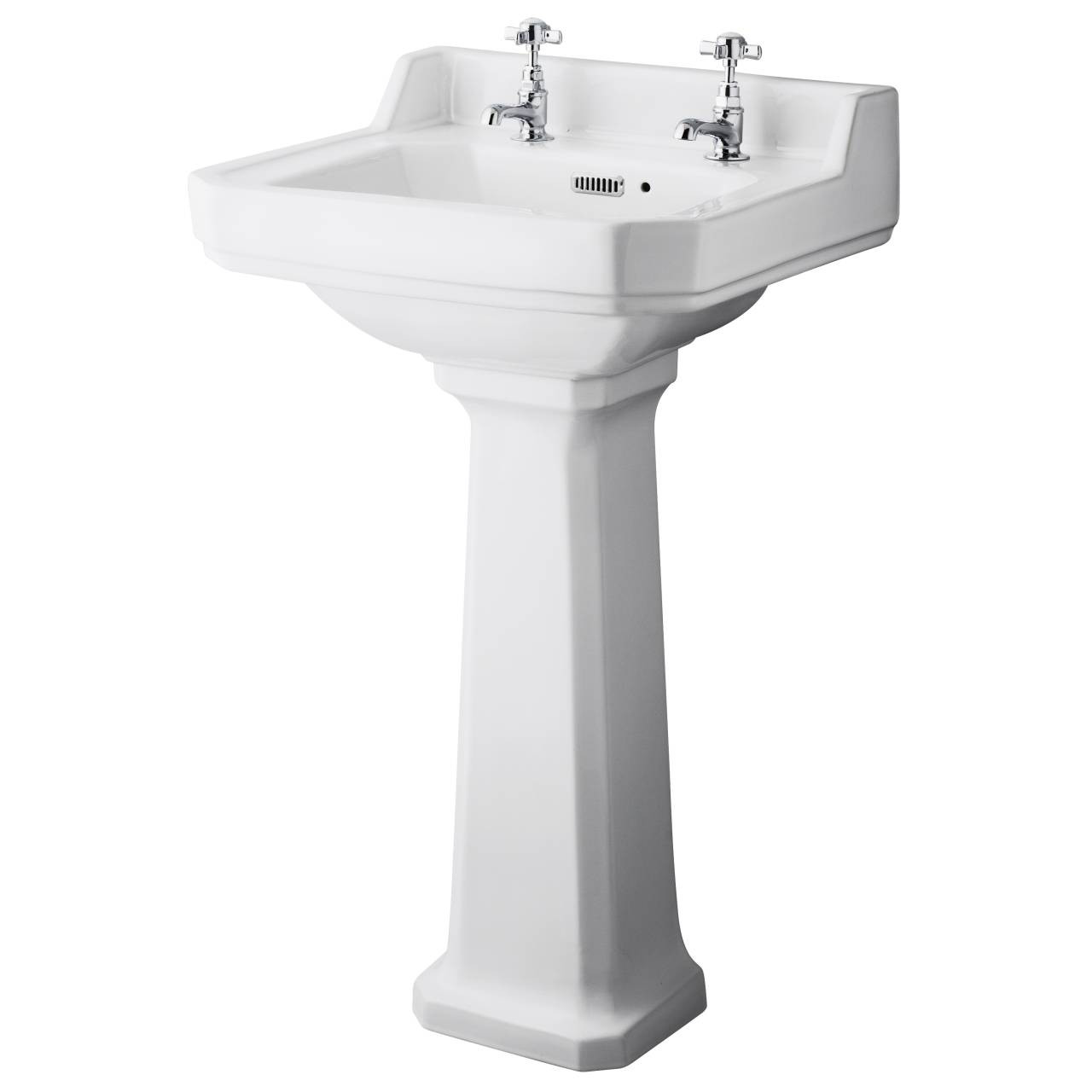 Hudson Reed Richmond 500mm Basin with 2 Tap Holes and Comfort Height Pedestal - CCR031
