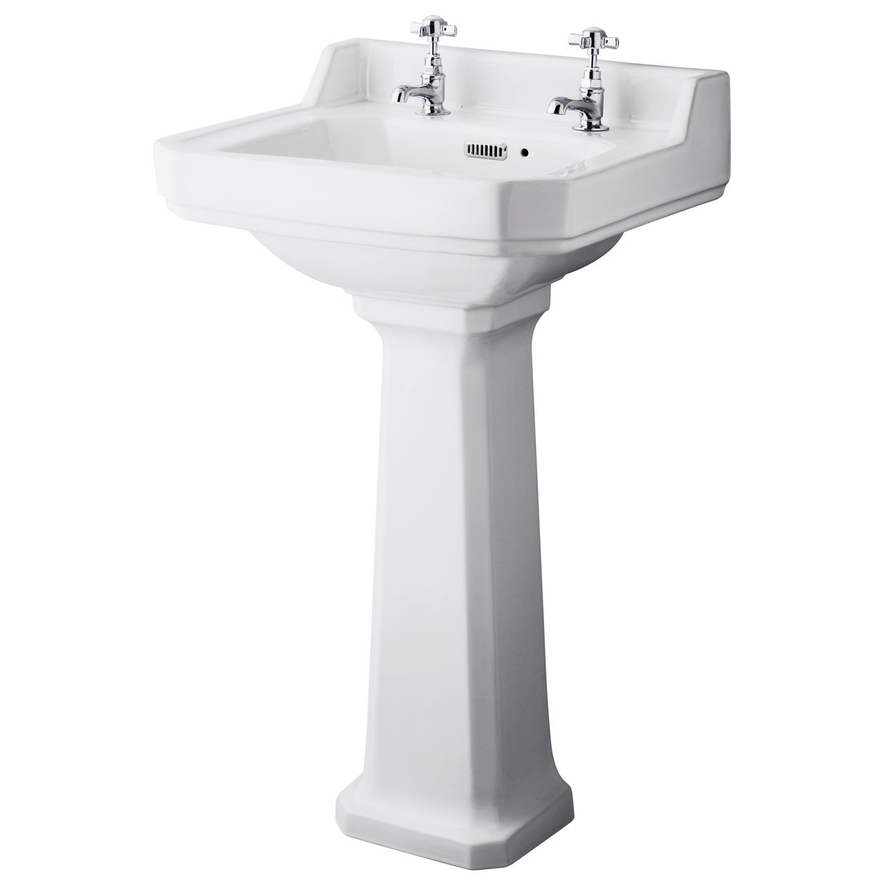 Hudson Reed Richmond 500mm Basin with 2 Tap Holes and Full Pedestal - CCR018