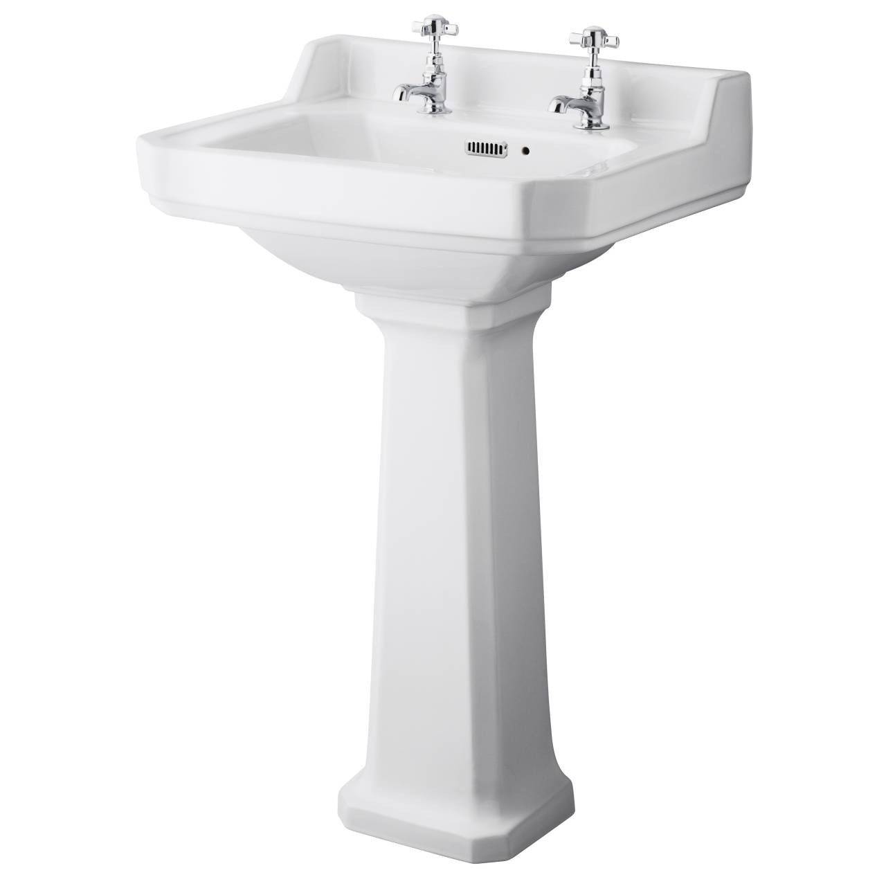 Hudson Reed Richmond 560mm Basin with 2 Tap Holes and Comfort Height Pedestal - CCR029