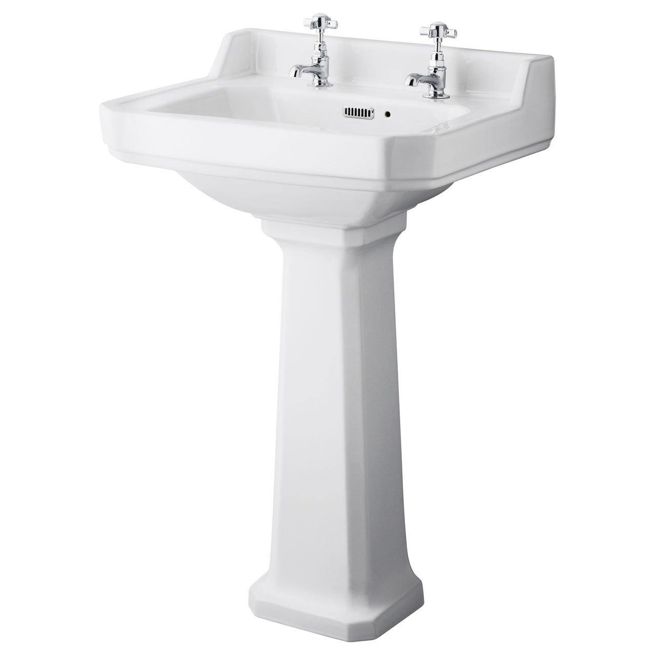 Hudson Reed Richmond 560mm Basin with 2 Tap Holes and Full Pedestal - CCR019