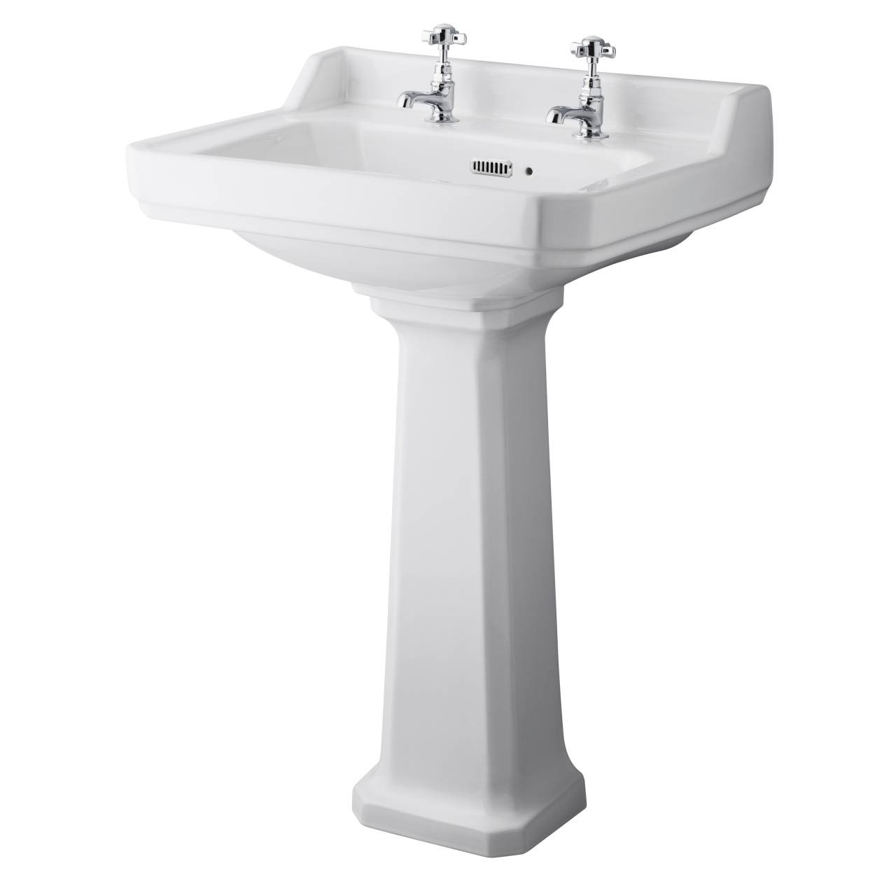 Hudson Reed Richmond 595mm Basin with 2 Tap Holes and Comfort Height Pedestal - CCR026