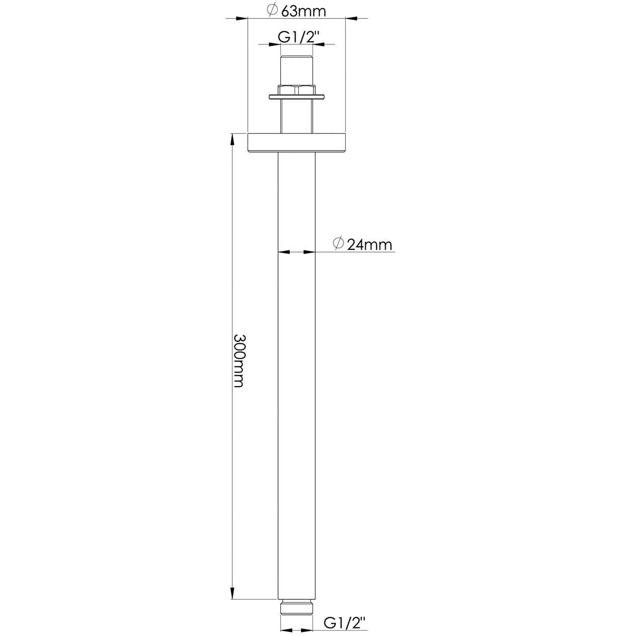 Hudson Reed Round Ceiling Arm 300mm - ARM16