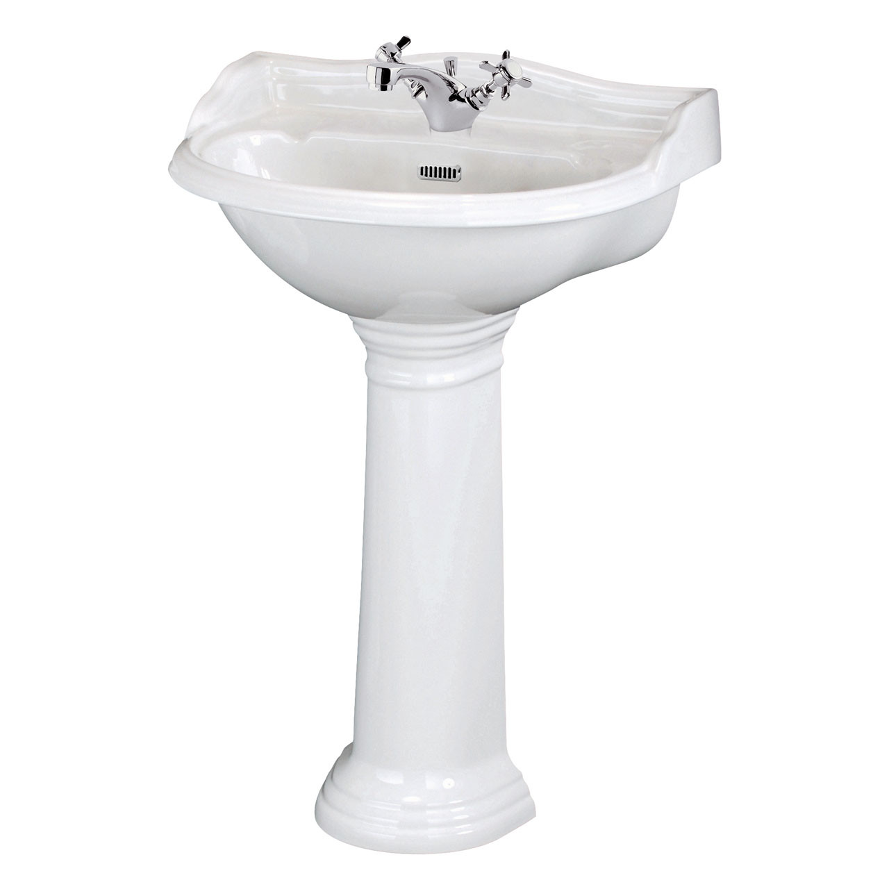 Hudson Reed Ryther 600mm Basin with 1 Tap Hole and Full Pedestal - CRT002