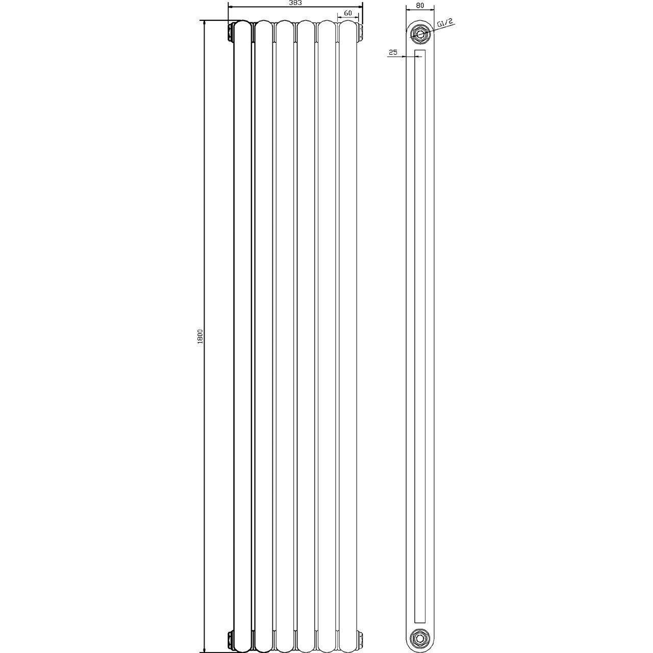 Hudson Reed Salvia Gloss White 1800mm x 383mm Horizontal Single Panel Radiator - HSA001H