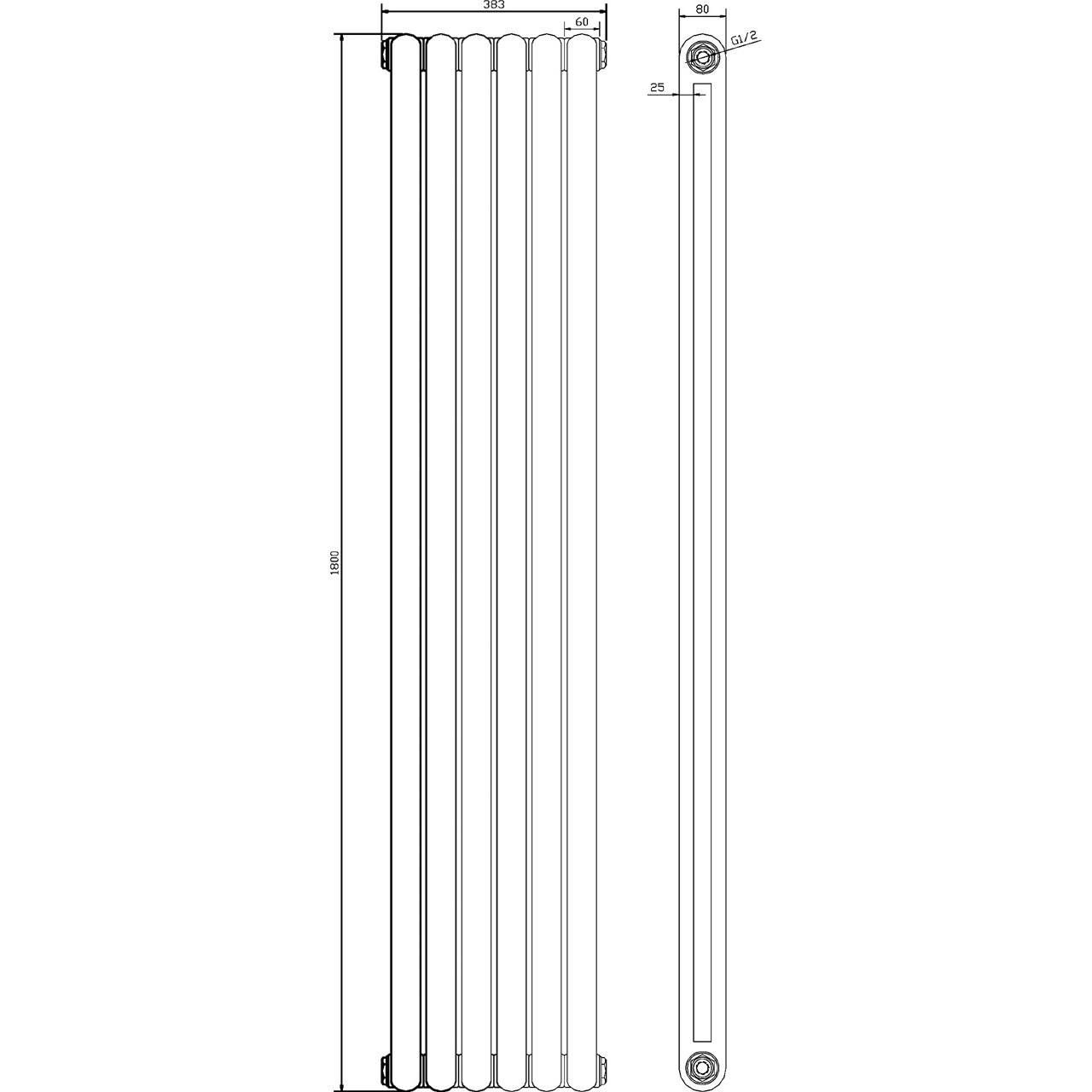 Hudson Reed Salvia Radiator 1800mm x 383mm - HSA005