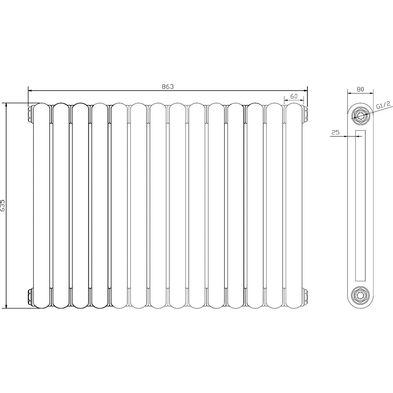 Hudson Reed Salvia Radiator 635mm x 863mm - HSA004