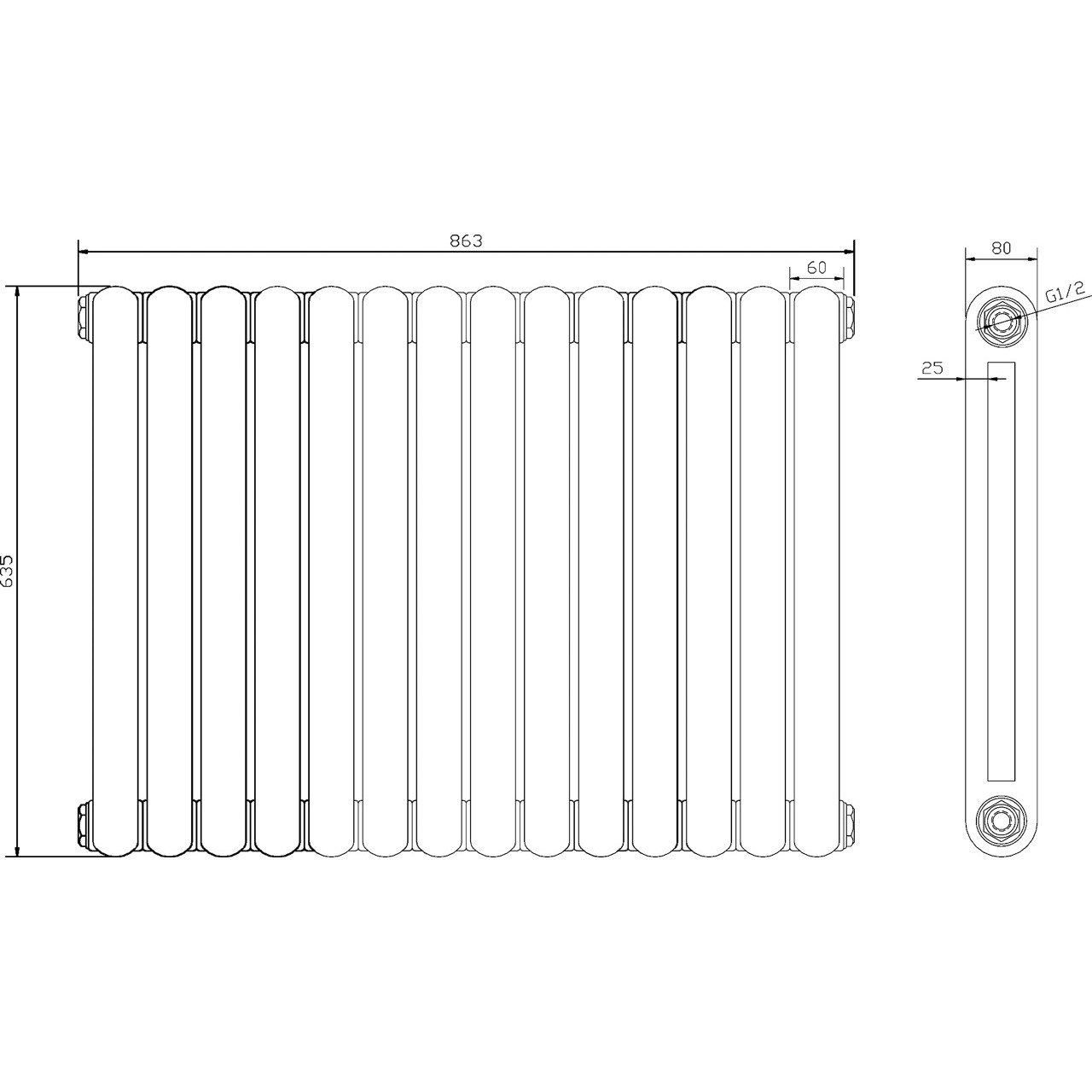 Hudson Reed Salvia Radiator 635mm x 863mm - HSA008