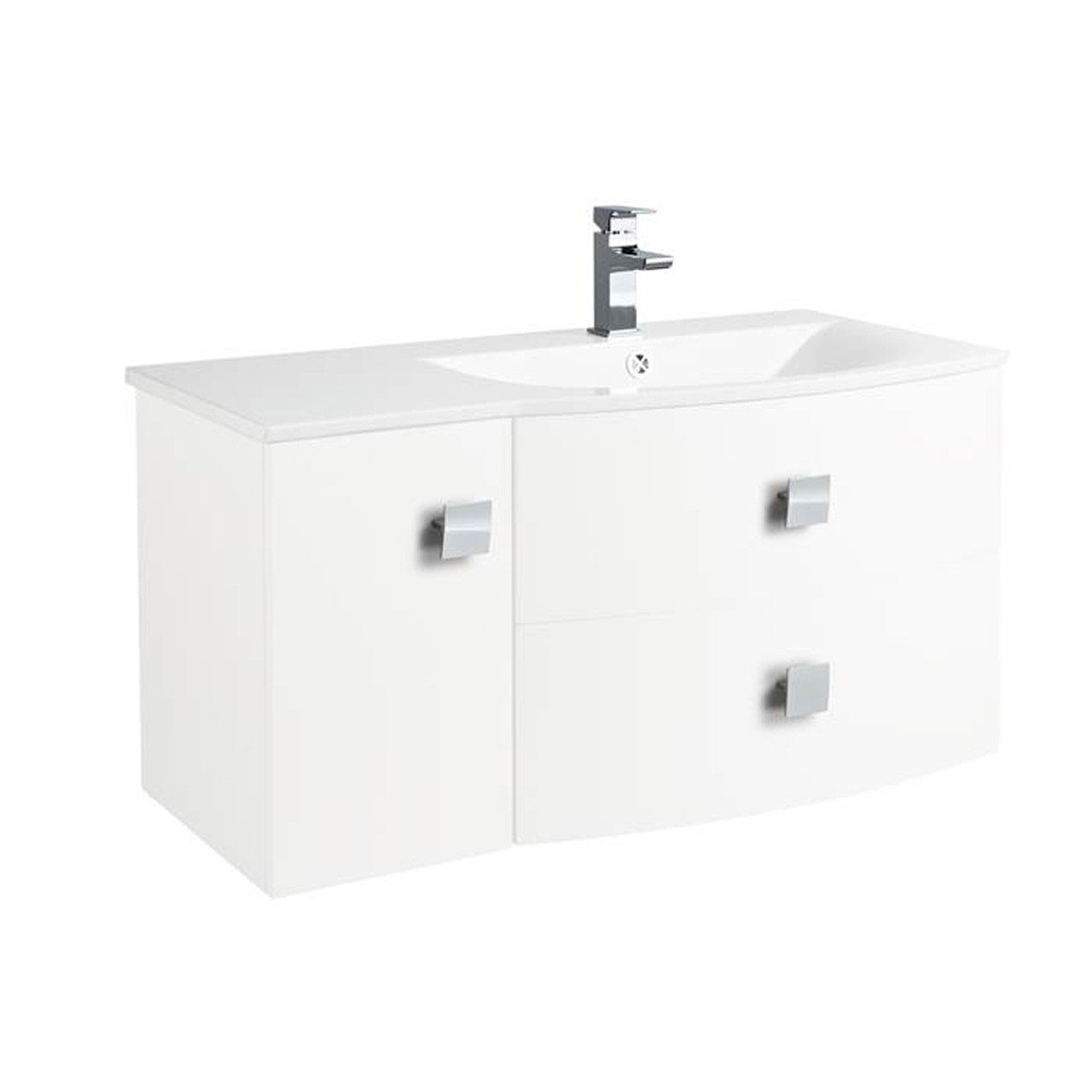 Hudson Reed Sarenna White Wall Hung 1000mm Cabinet & Right Hand Basin - FMB1223R & FMB0093R