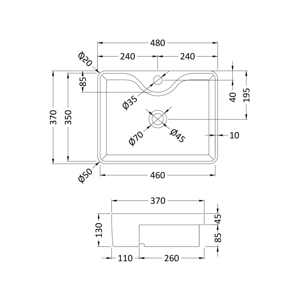 Hudson Reed Square Semi Recessed 480mm Basin with 1 Tap Hole - NBV174 - Line Drawing
