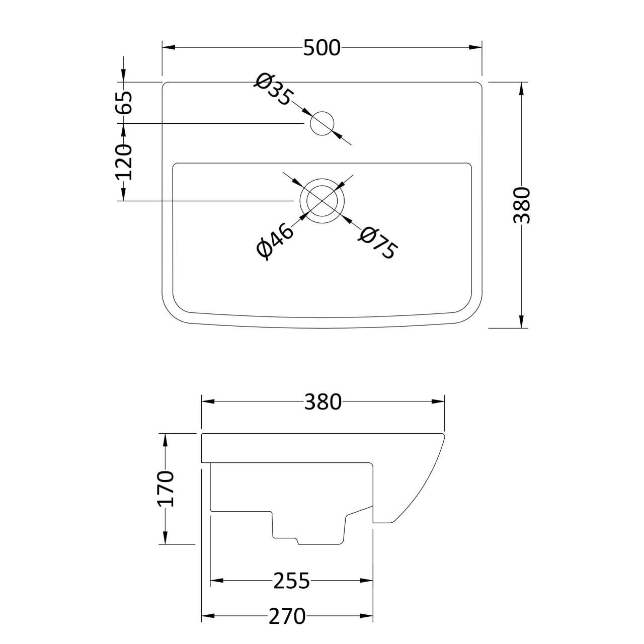 Hudson Reed Square Semi-Recessed 500mm Basin with 1 Tap Hole - SRB005