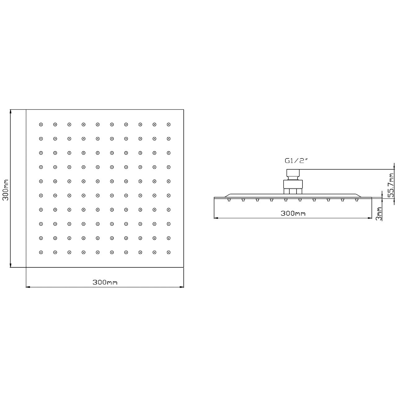 Hudson Reed Square Thin Fixed Shower Head 300mm x 300mm - HEAD58