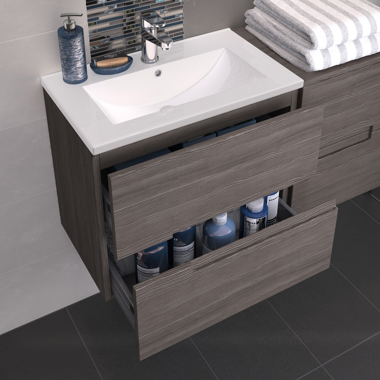 Hudson Reed Urban Grey Avola 600mm Floor Standing 2 Door Vanity Unit with 18mm Profile Basin - URB526
