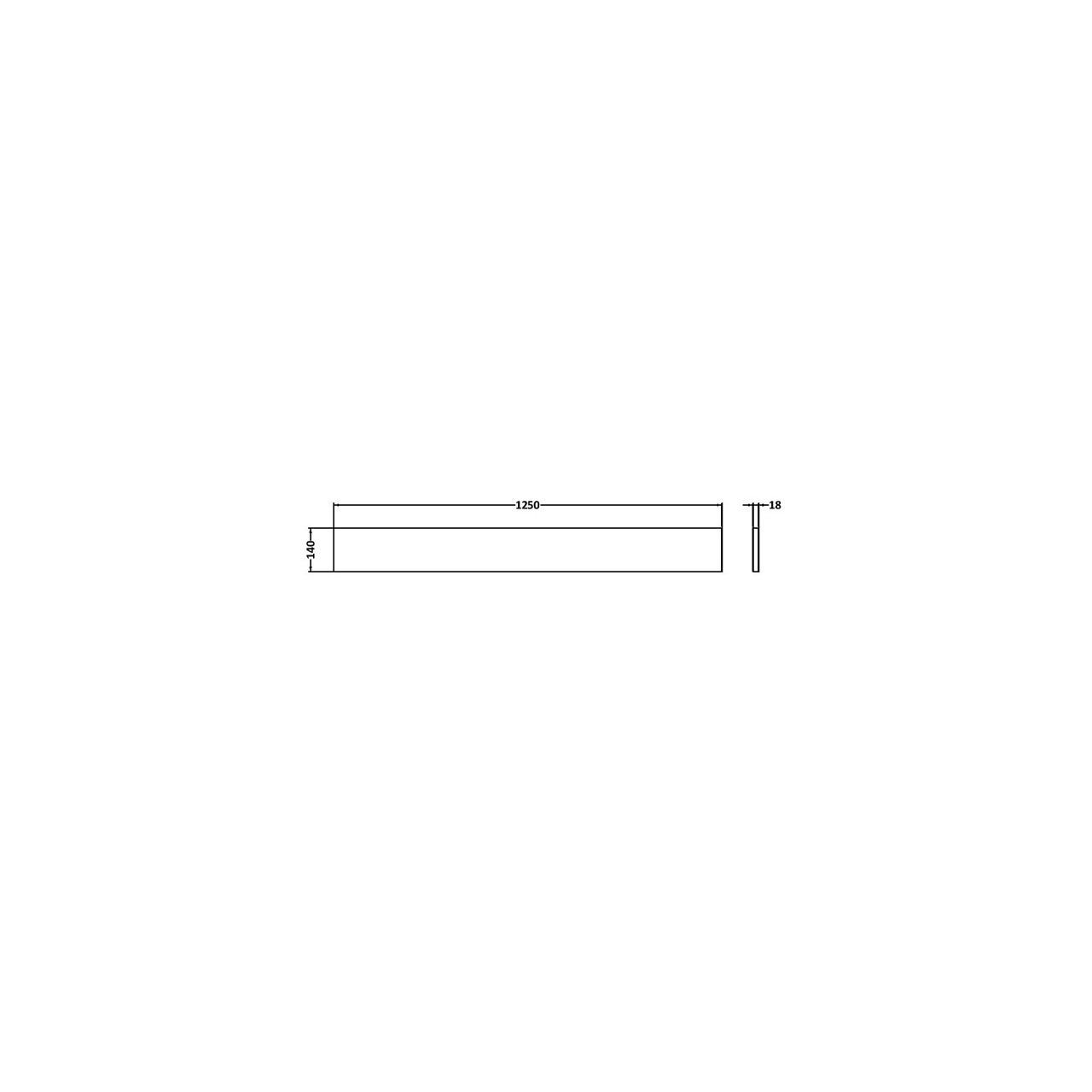 Hudson Reed White Gloss Plinth 1250mm x 145mm - OFF191