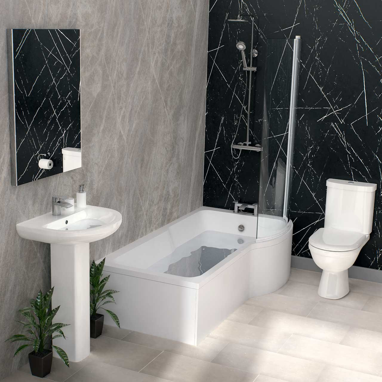 Ideal Right Hand P Shaped Shower Bath Suite