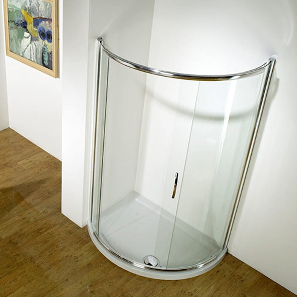 Kudos Infinite Semi-Frameless Offset Curved Slider Side Access 1000 x 810mm Silver
